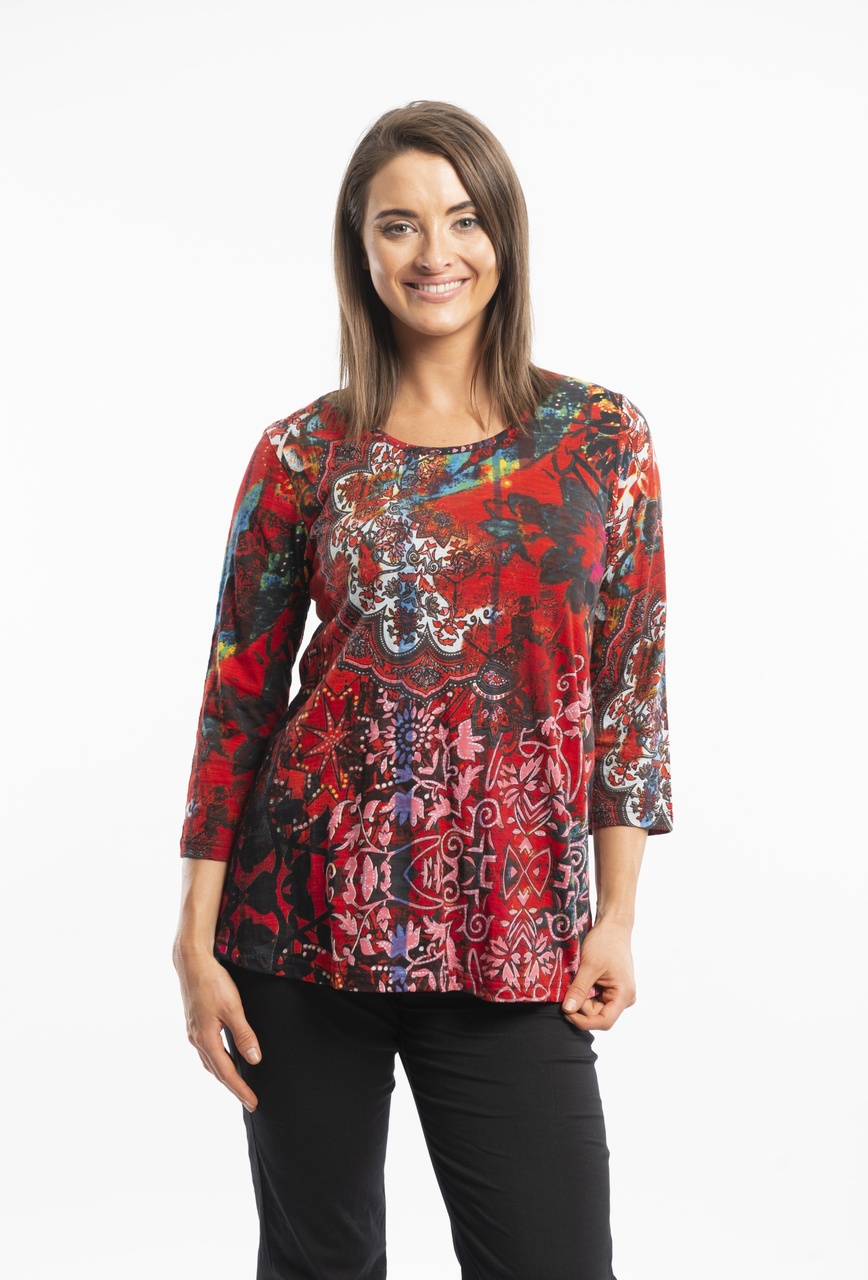Orientique red T-shirt Contempory Tee