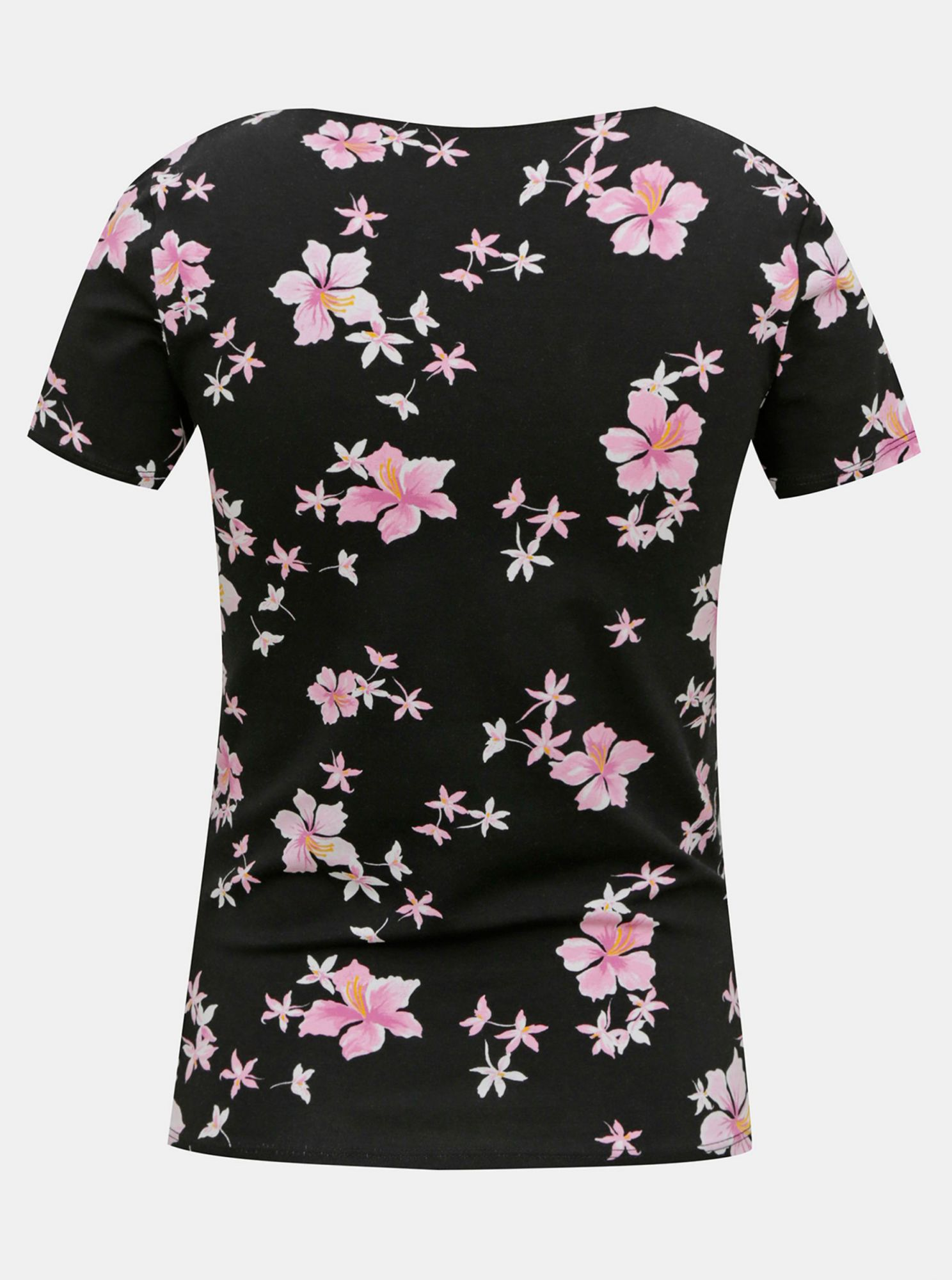 Black flowered T-shirt with ribbons in the neckline TALLY WEiJL