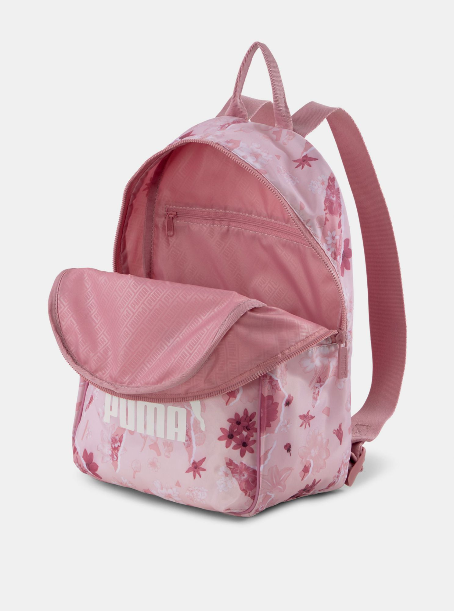 Pink women's flowered Puma backpack