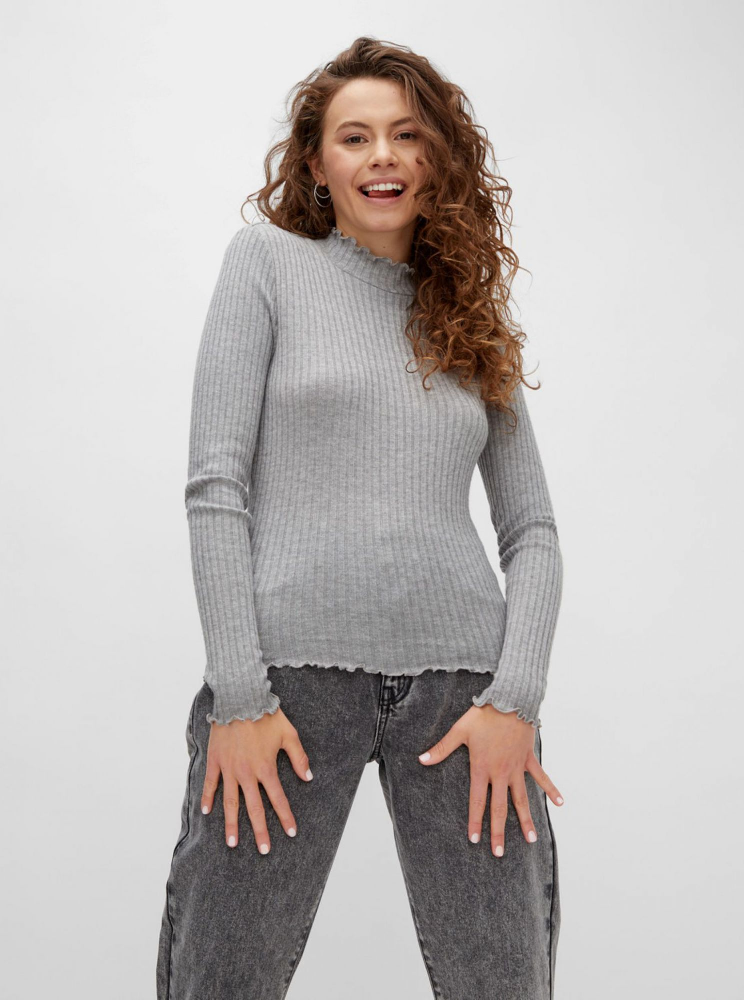 Gray ribbed T-shirt Noisy May Berry