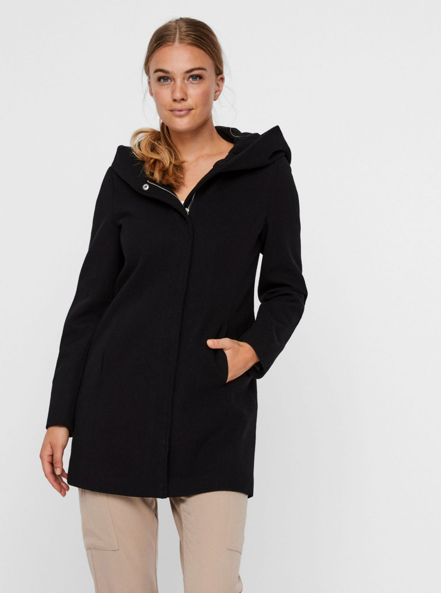 Black hooded coat VERO MODA Dafne