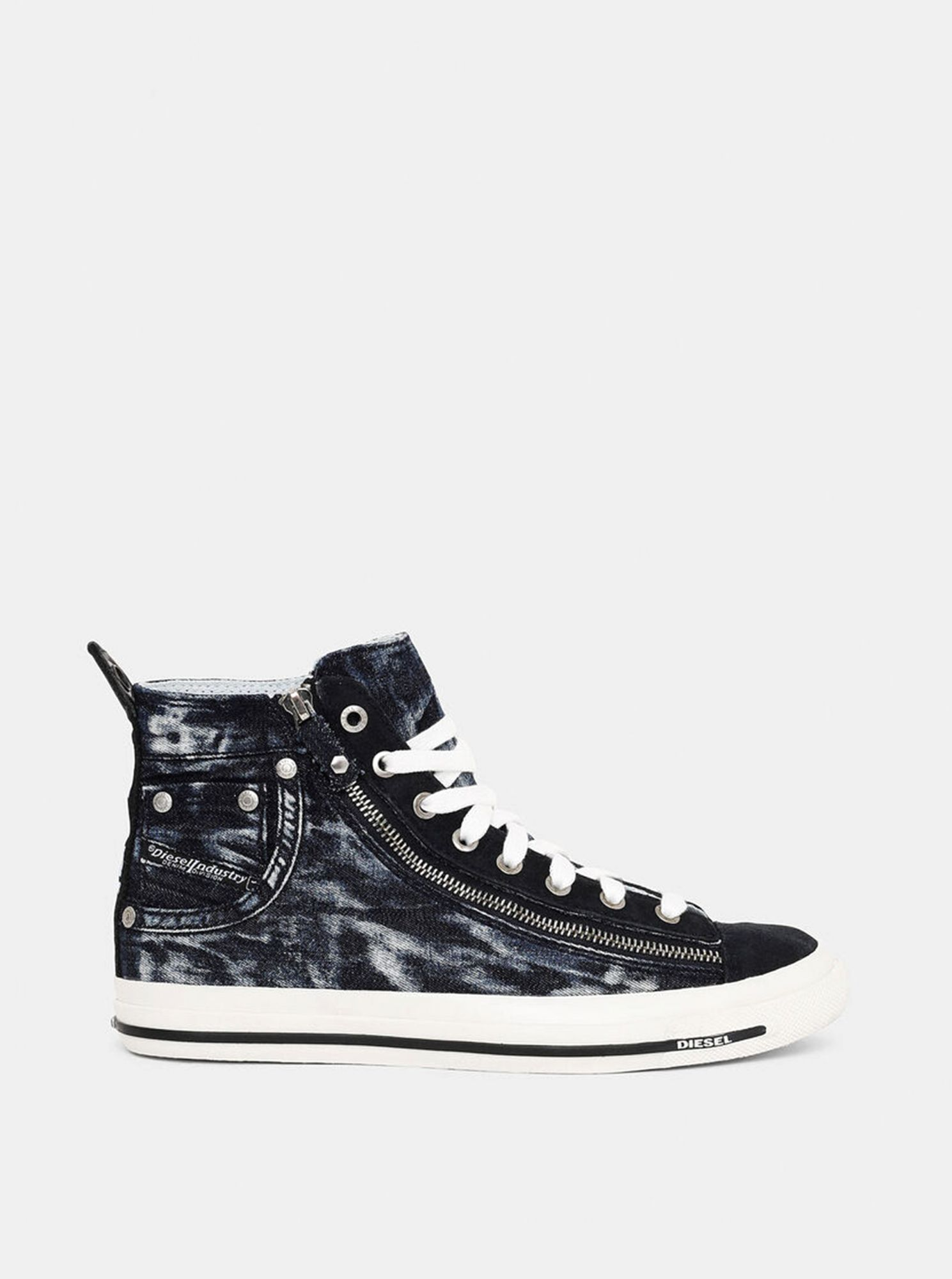 Black patterned women's sneakers with leather Diesel details