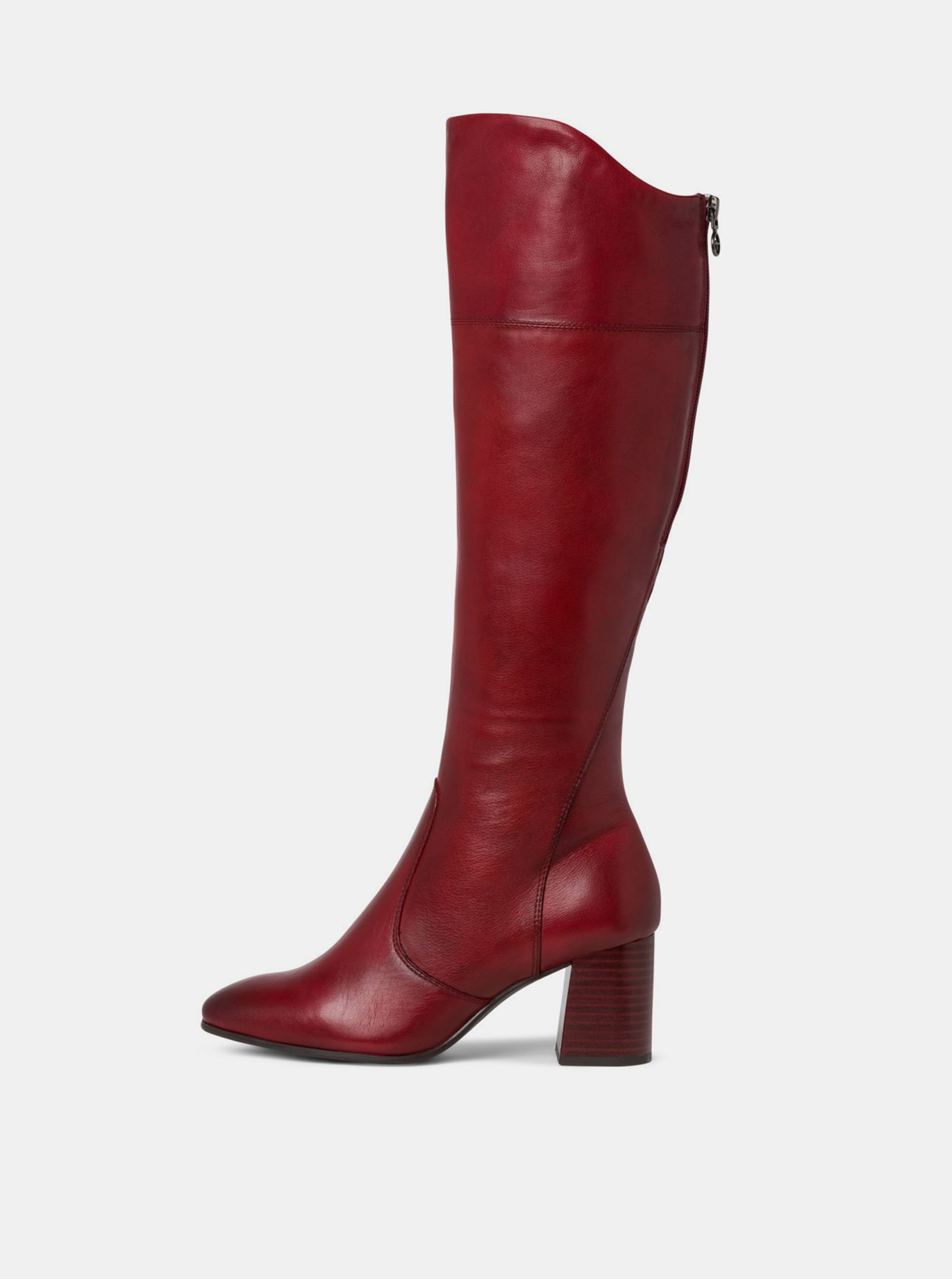 Red leather boots Tamaris