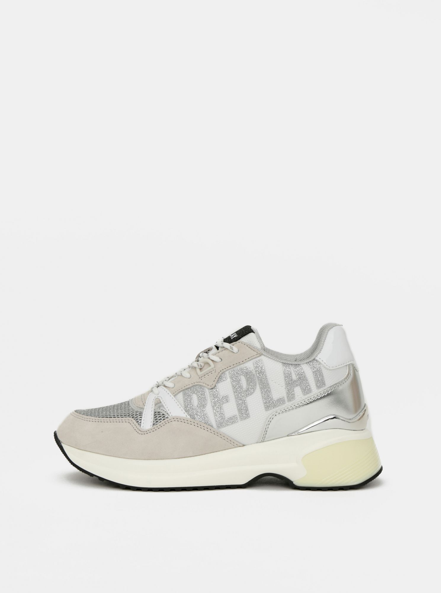 Light gray women's sneakers with suede Replay details