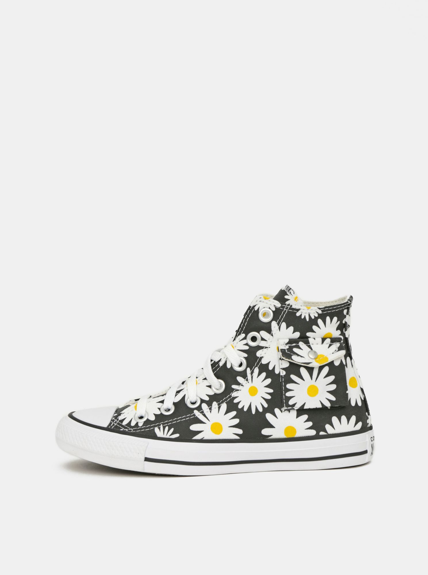 Black women's flowered Converse ankle sneakers