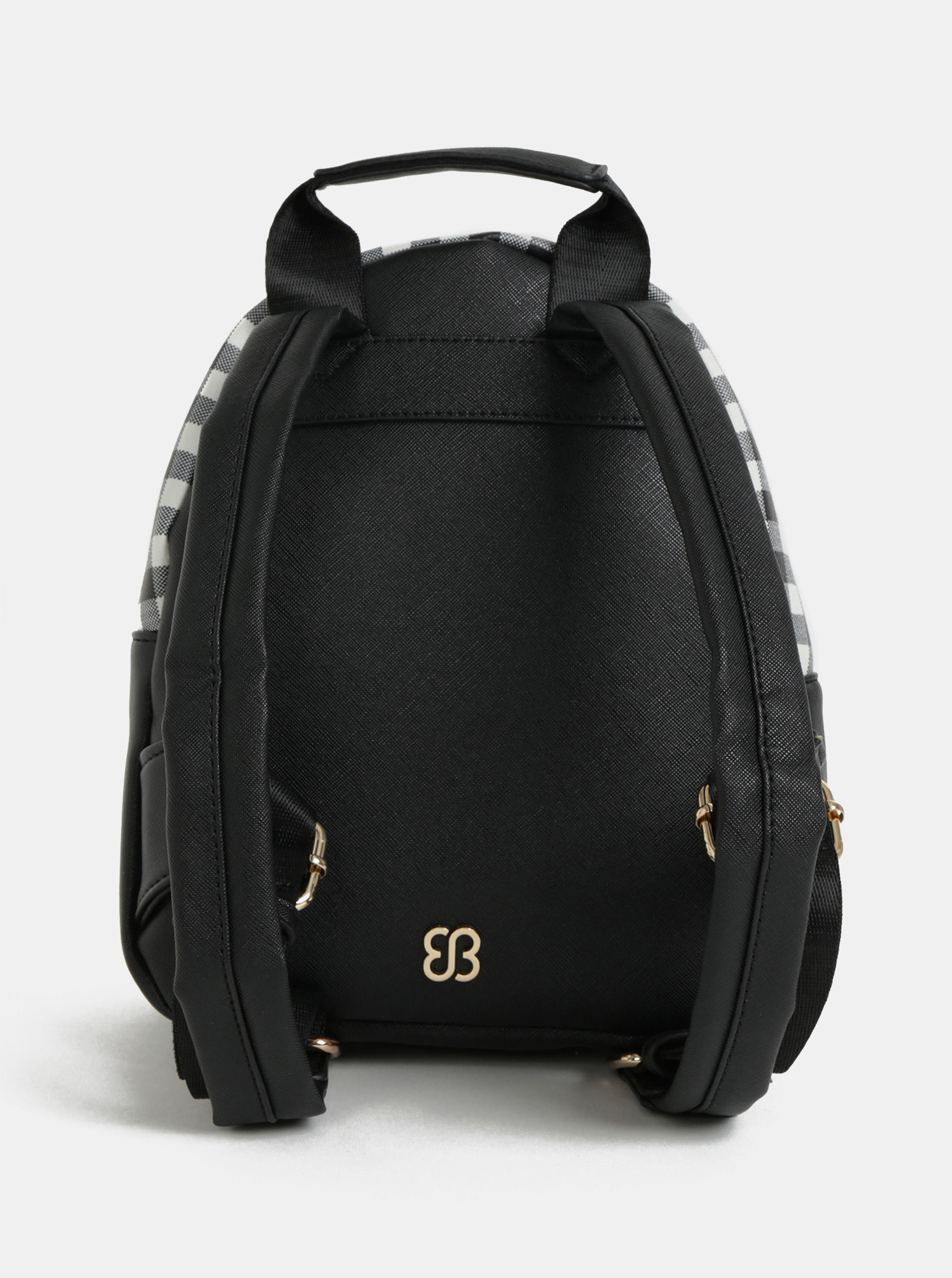 Bessie London white and black checkered backpack