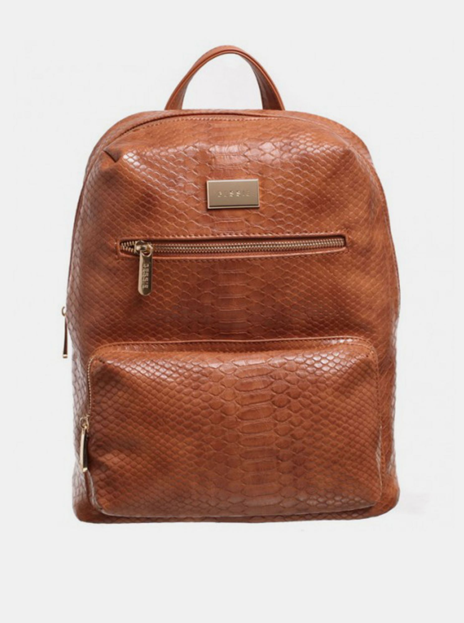 Brown backpack with crocodile pattern Bessie London