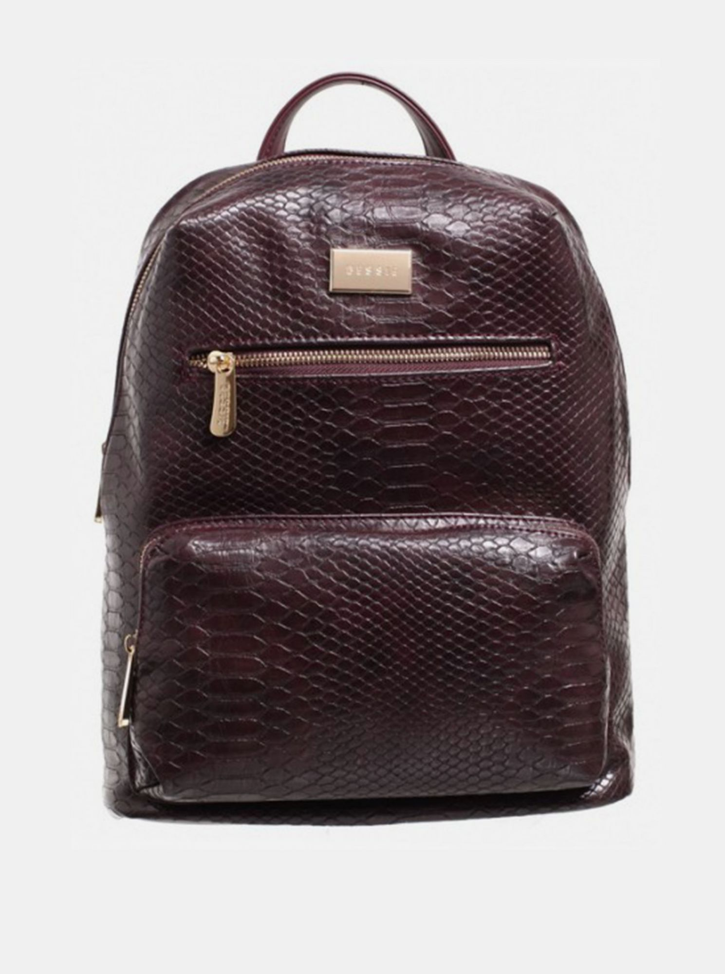 Burgundy backpack with crocodile pattern Bessie London