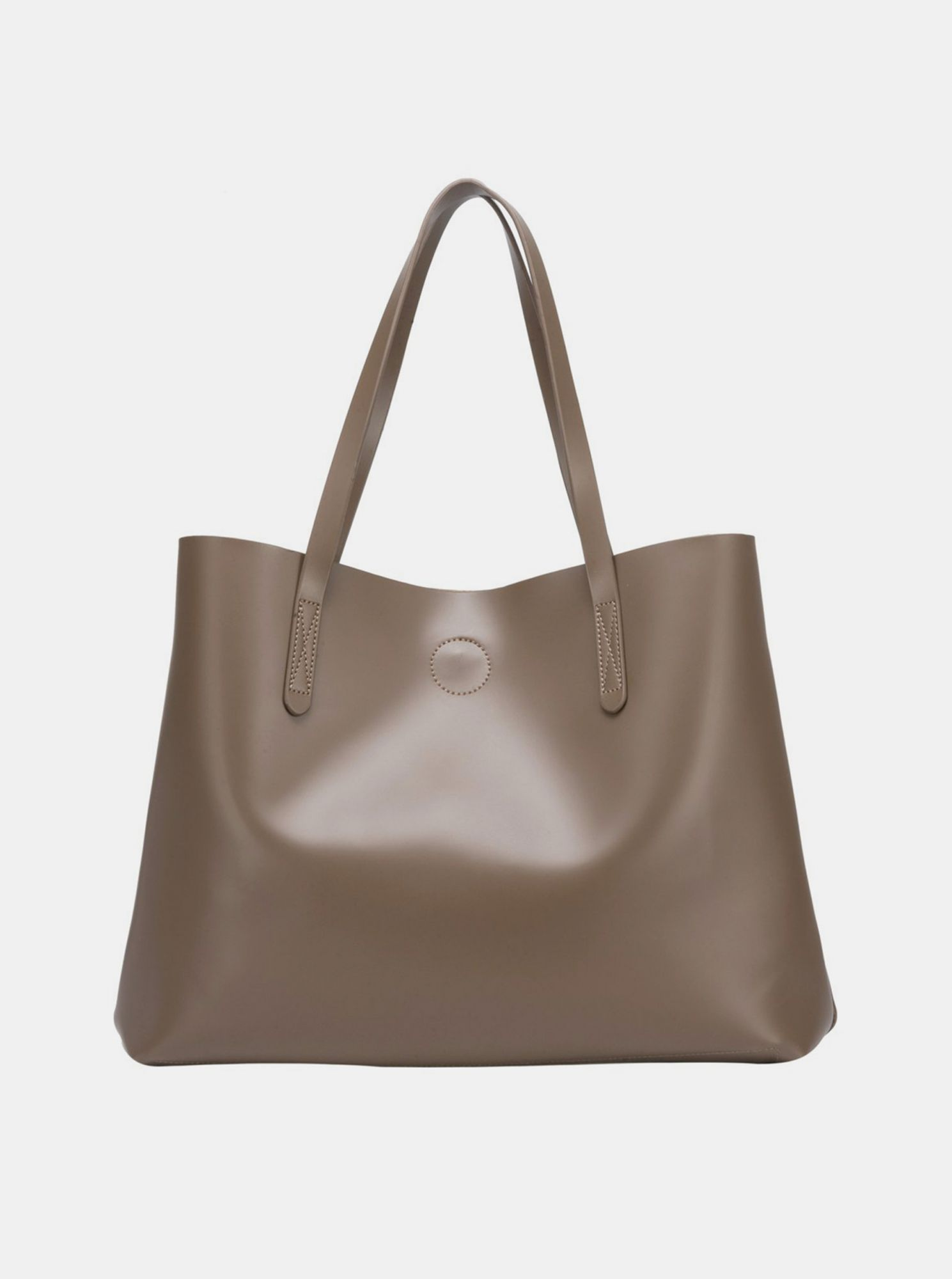 Brown shopper with a removable Claudia Canova case