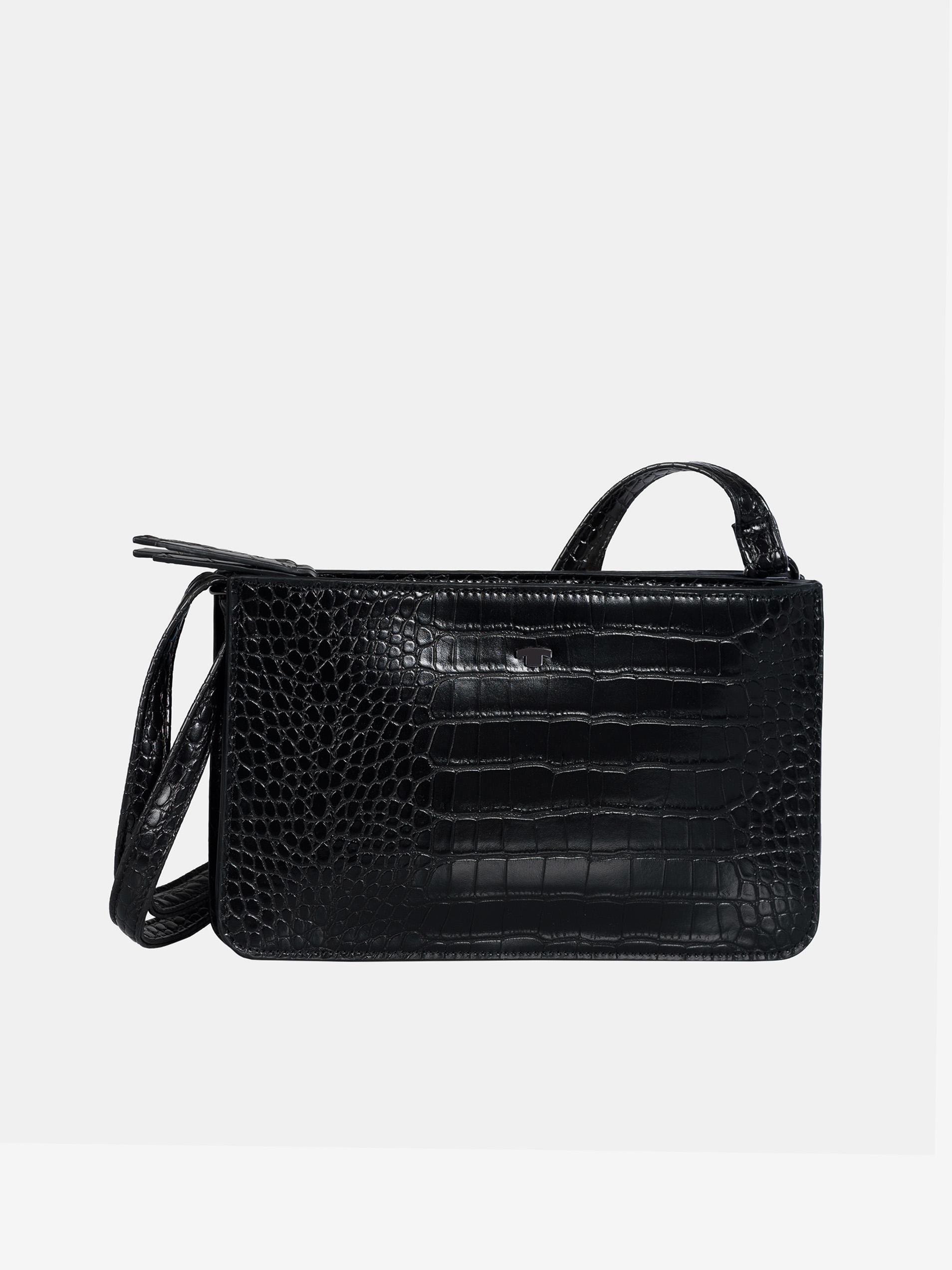 Black crossbody handbag with a crocodile pattern by Tom Tailor