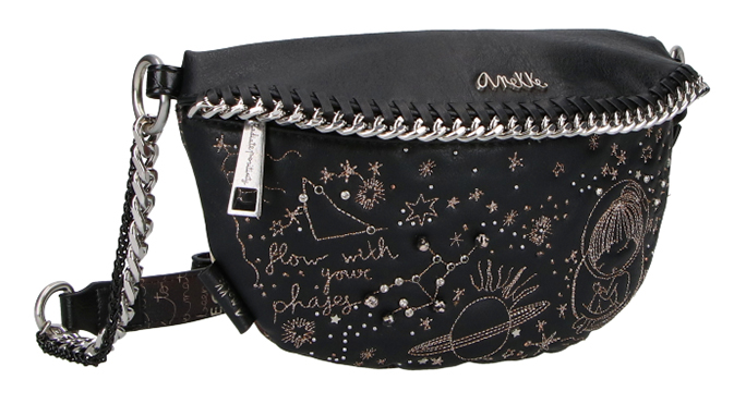 Anekke black small bum bag Universe