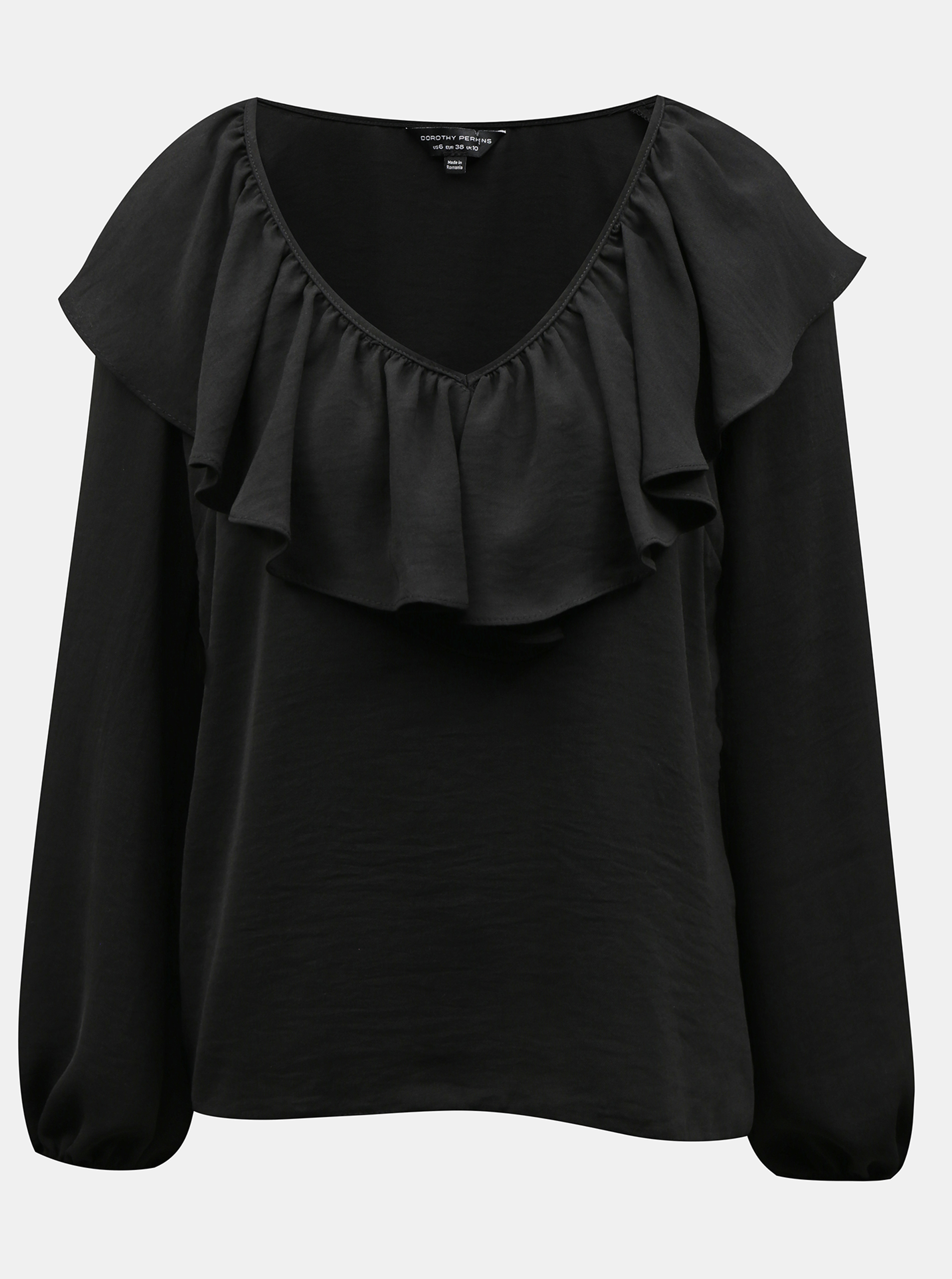 Black blouse with a ruffle Dorothy Perkins