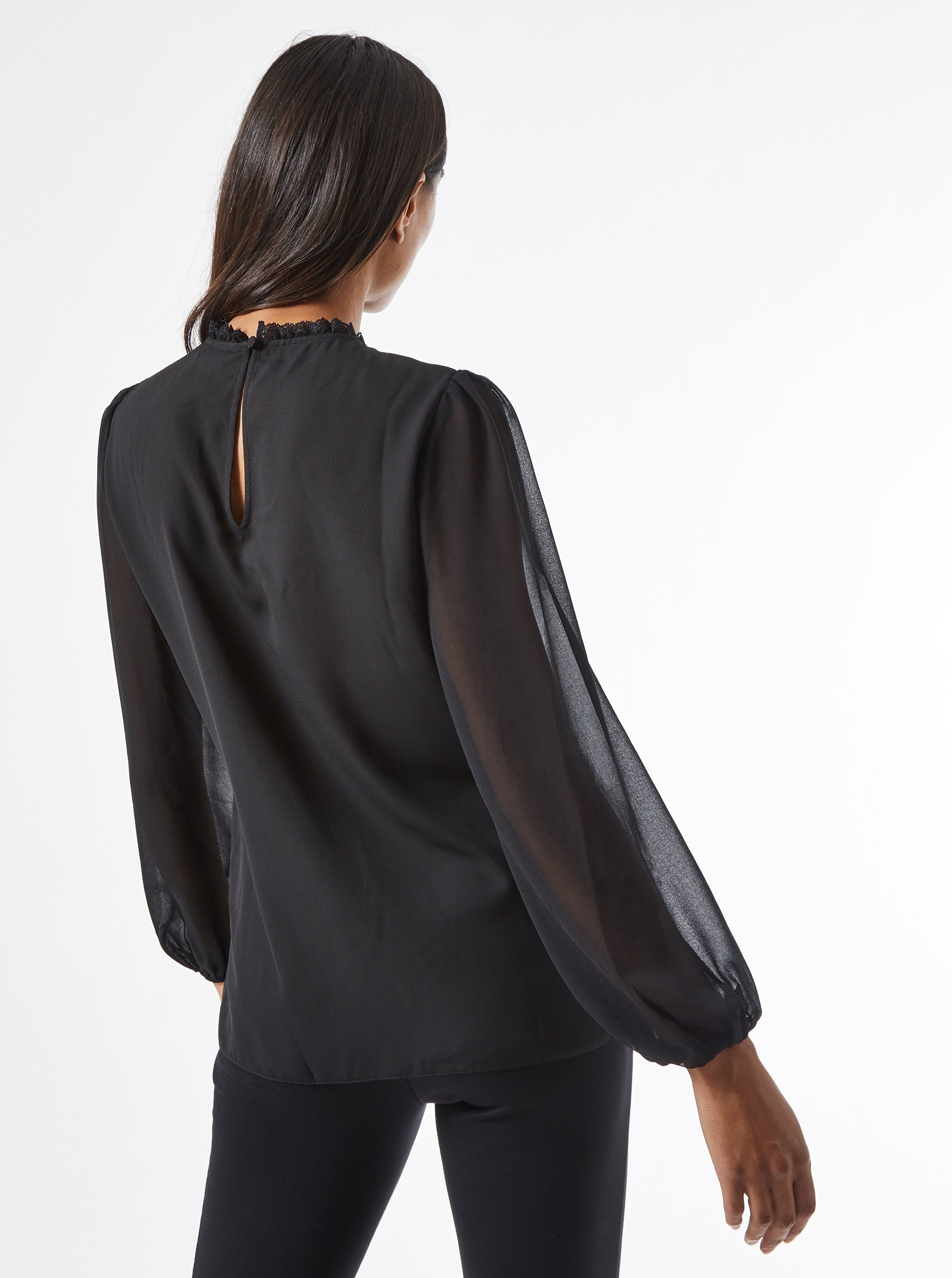 Black pleated blouse with lace Dorothy Perkins