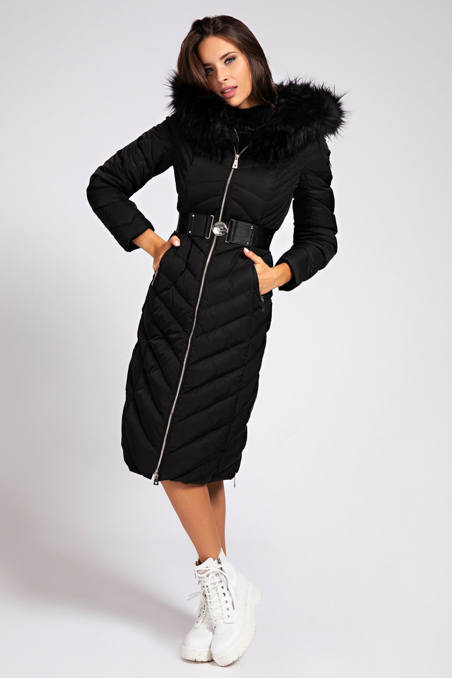 Guess Black Coats Belted Padded Long, Black Coat With Fur Hood Children S