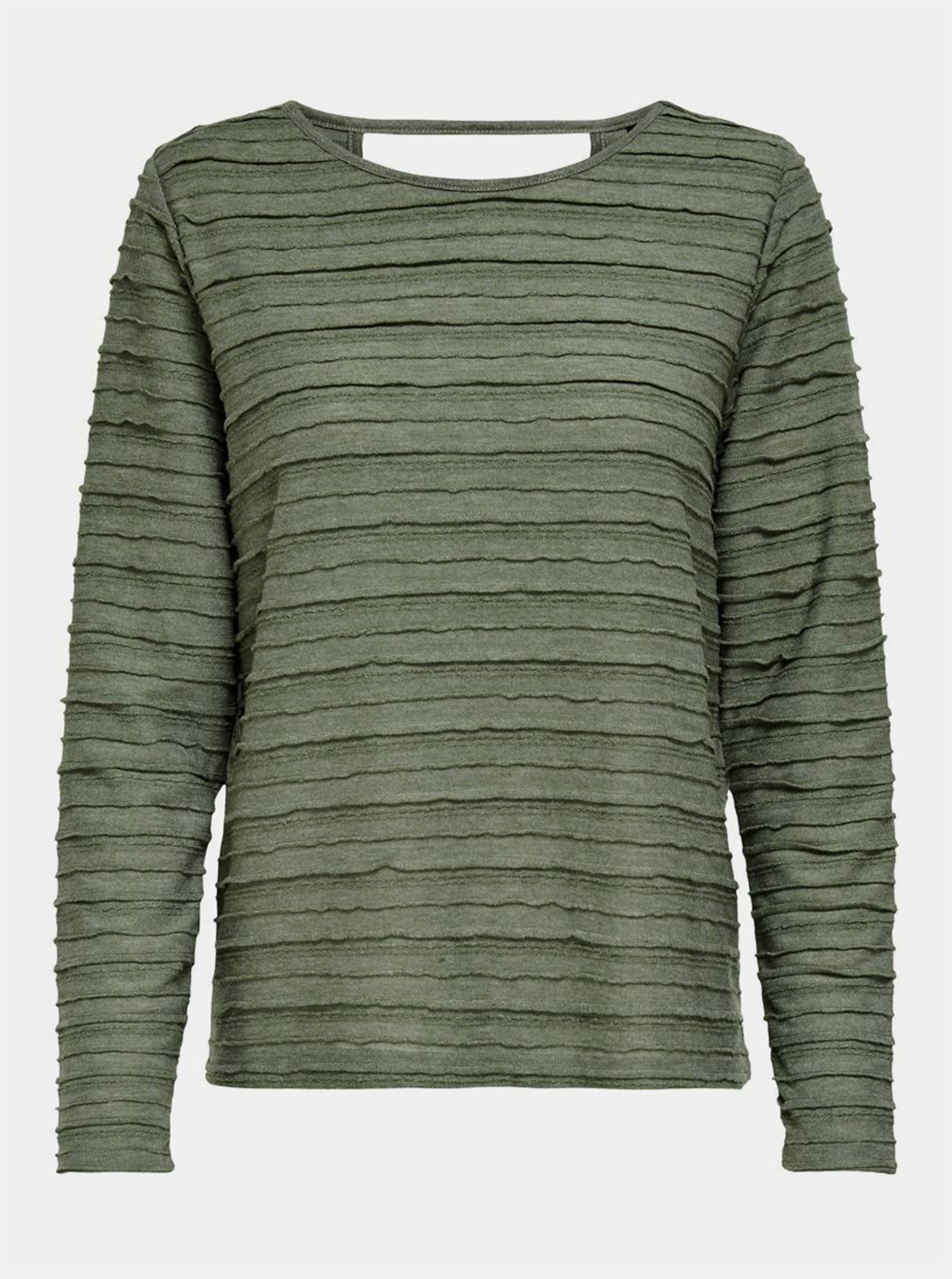Green T-shirt with a cut on the back ONLY