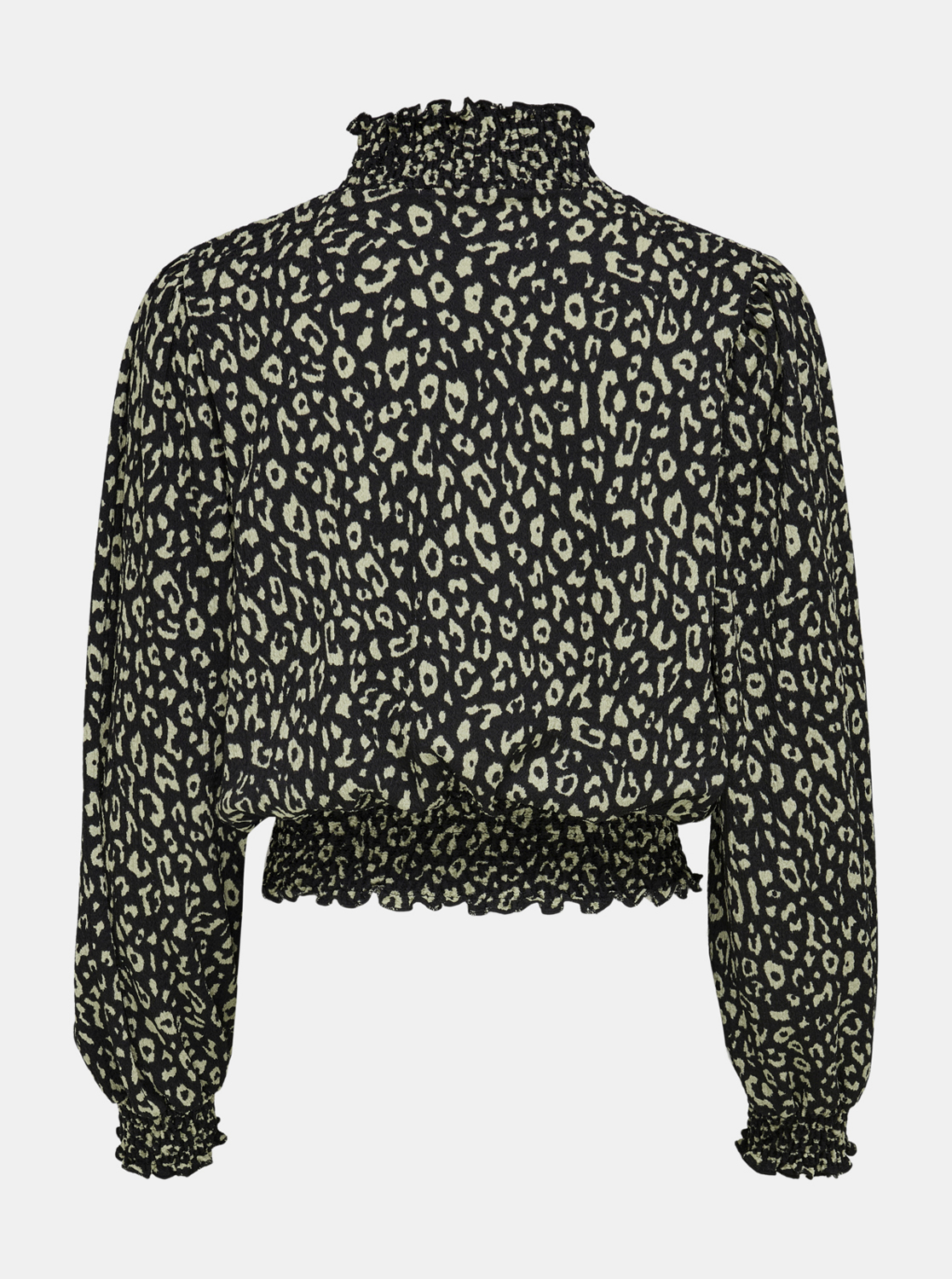 Black patterned blouse with stand-up collar ONLY