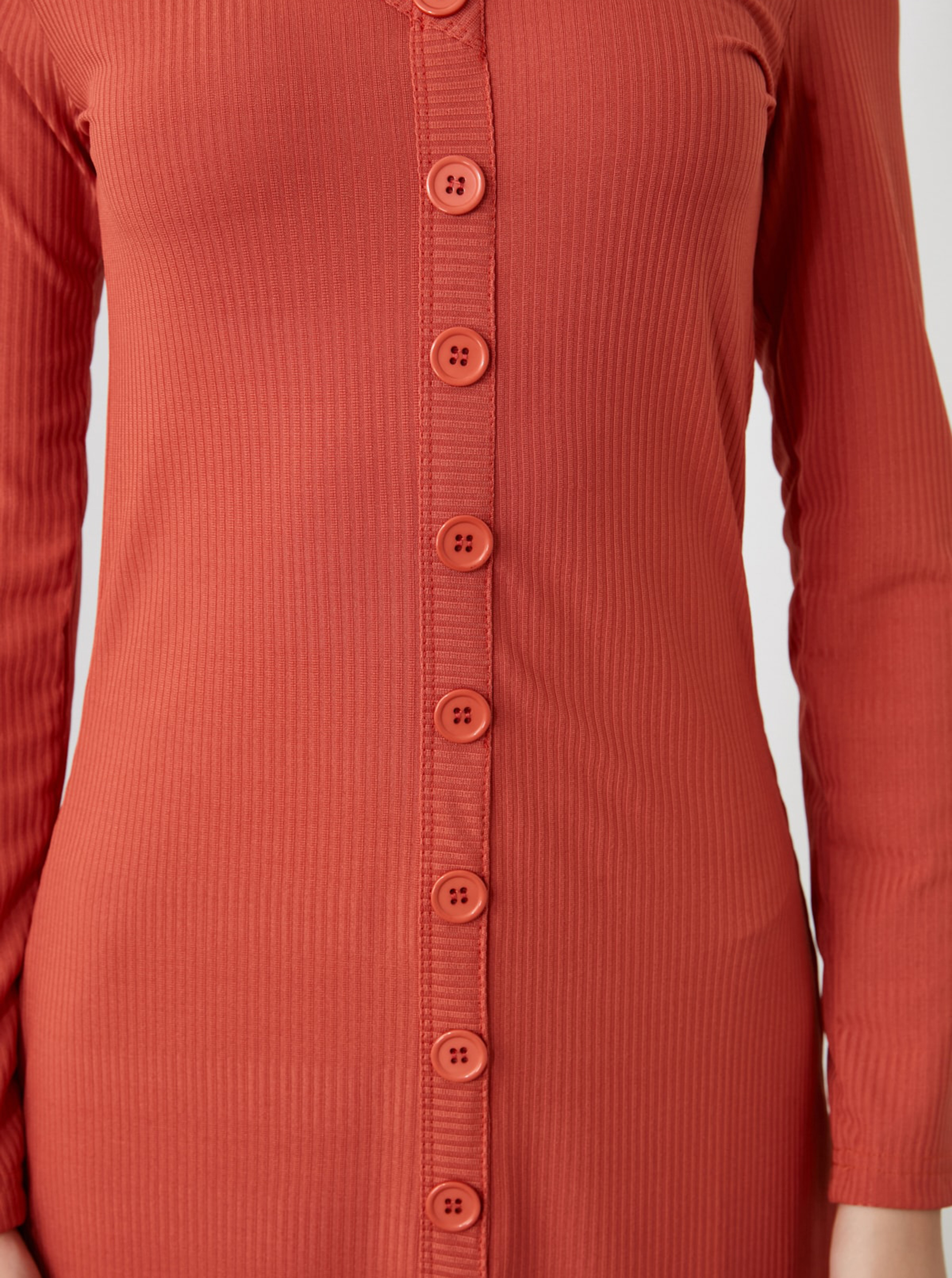 Brick midi dress with Trendyol buttons