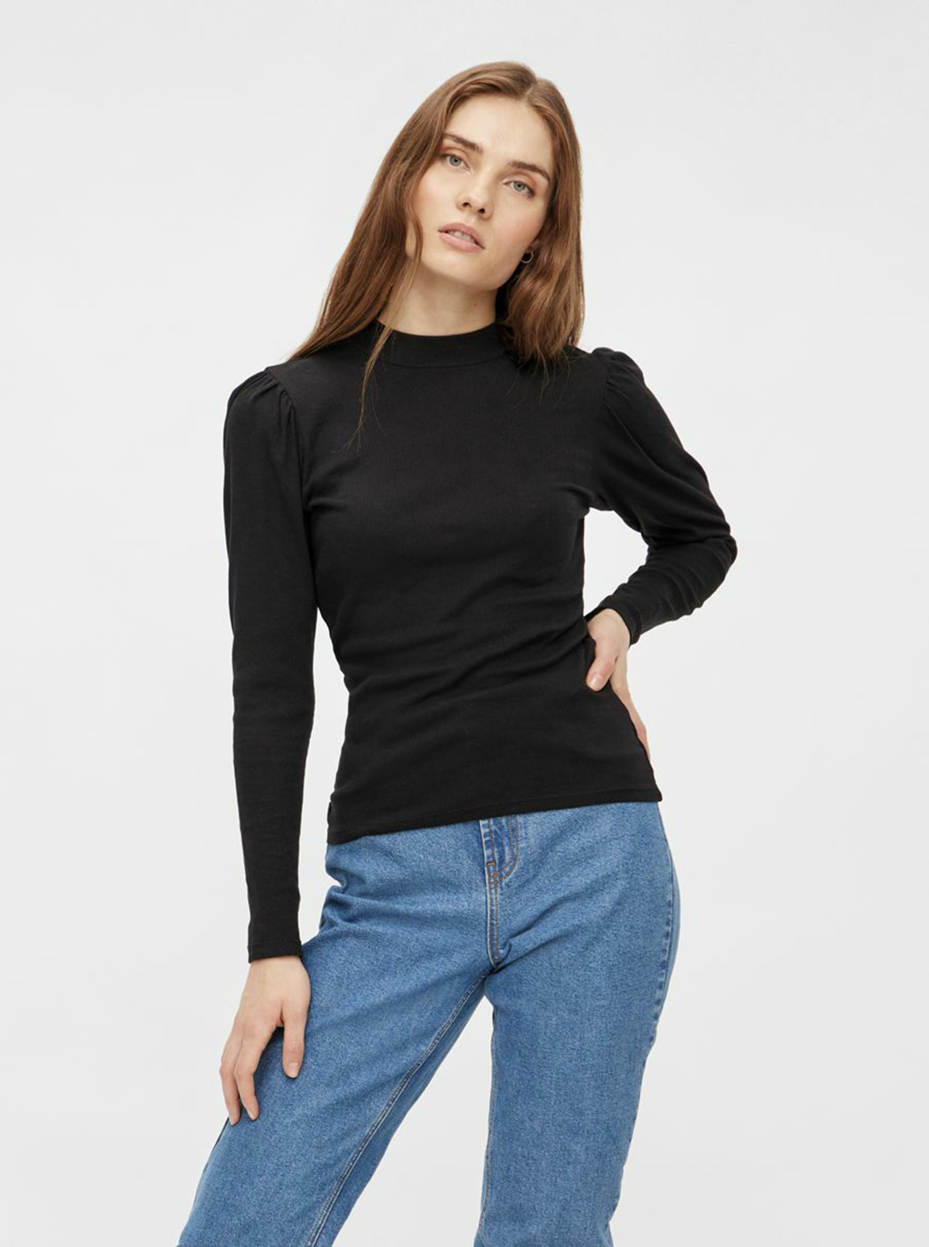 Black T-shirt with stand-up piece Pieces