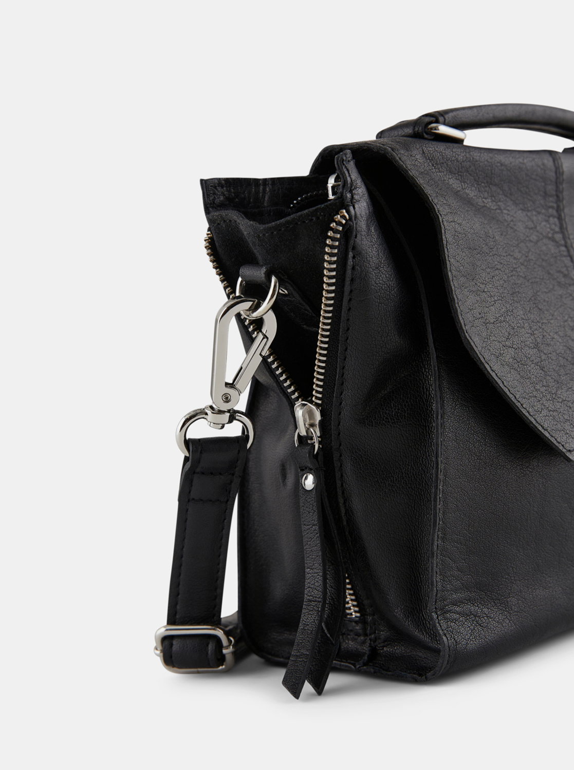 Black leather crossbody handbag Pieces