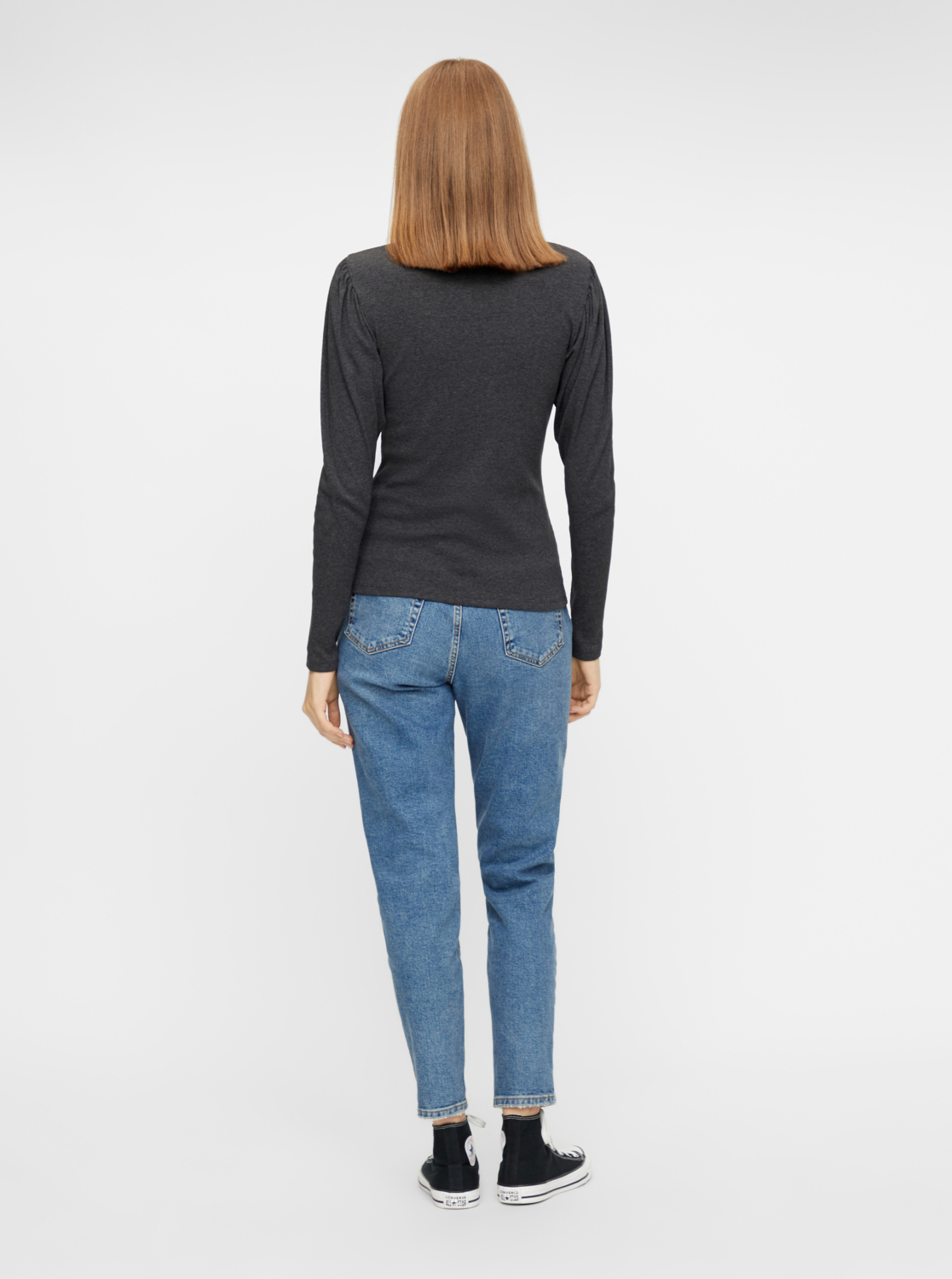 Gray T-shirt with stand-up piece Pieces