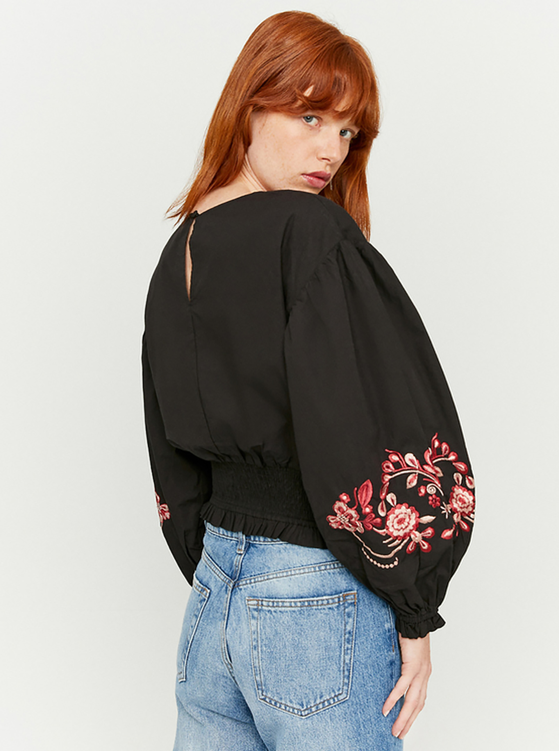 Black short blouse with TALLY WEiJL embroidery