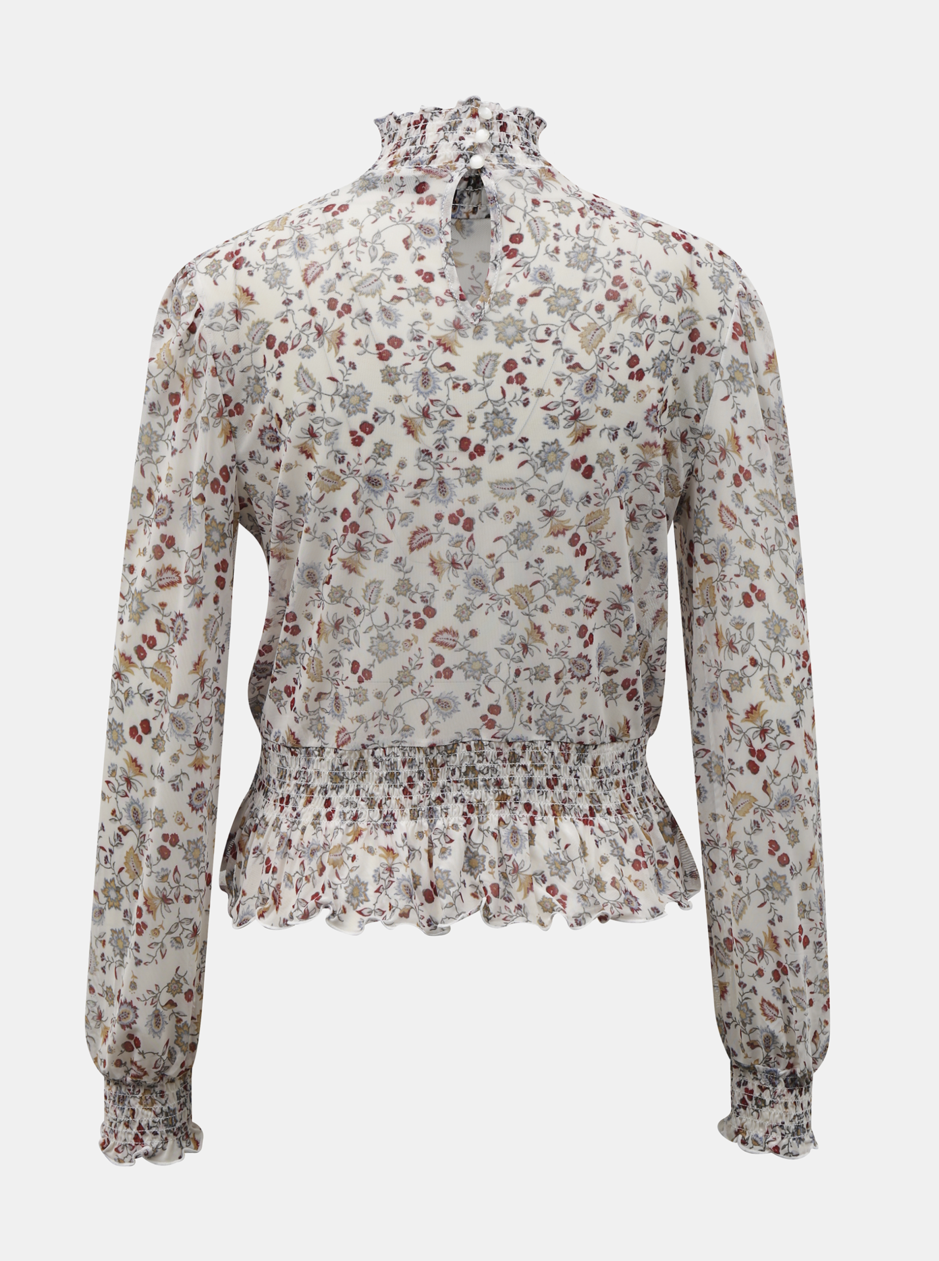 White flowered blouse with stand-up collar TALLY WEiJL