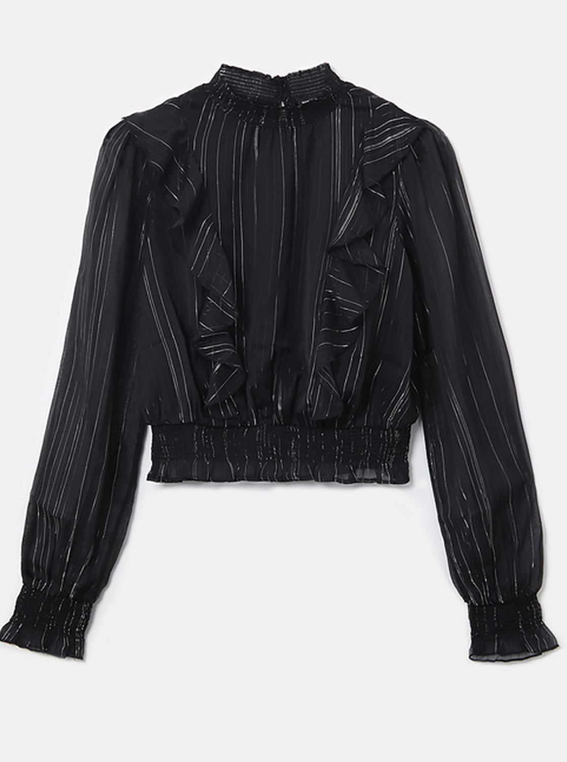 Black blouse with ruffles TALLY WEiJL