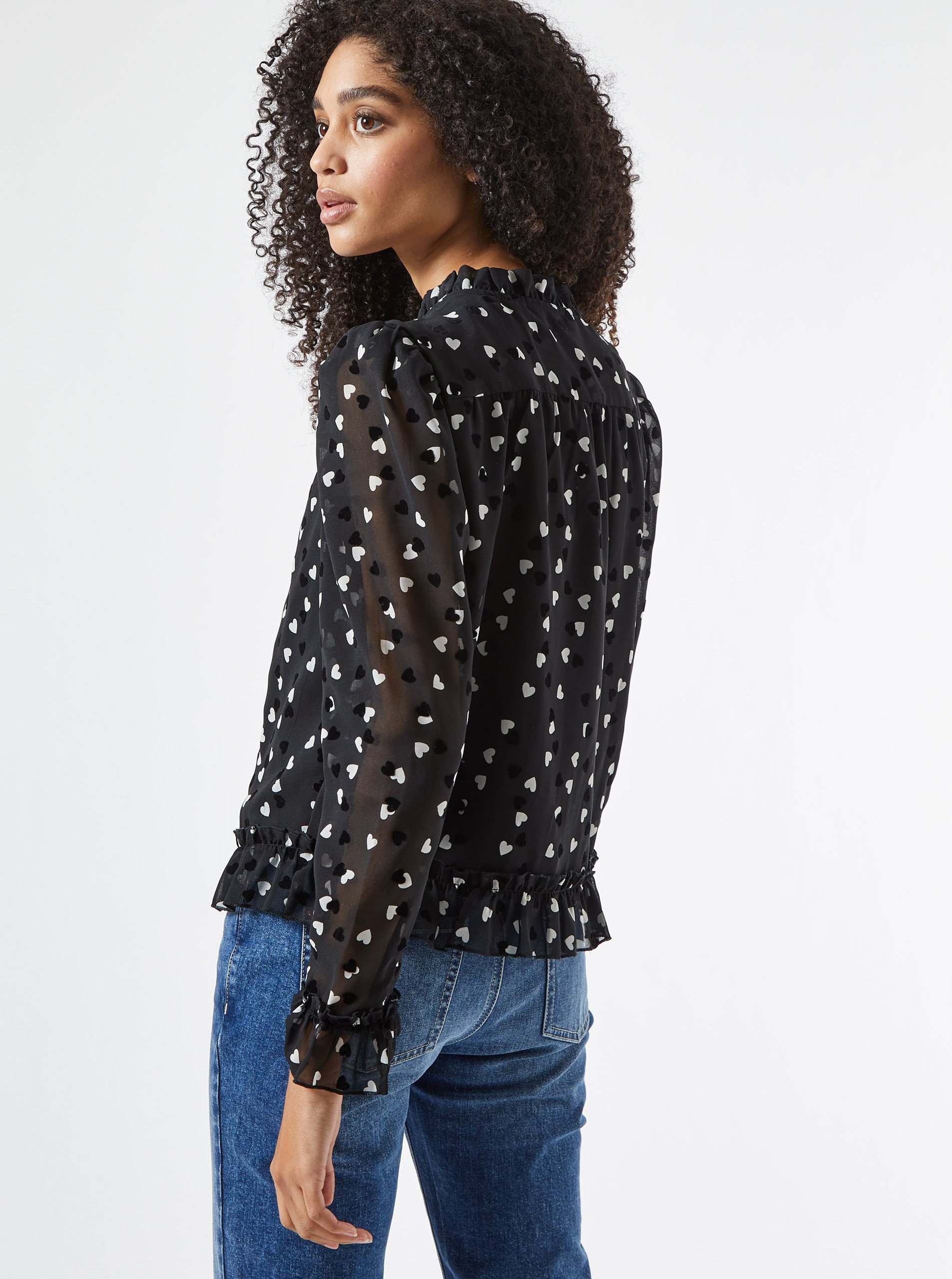 Black patterned blouse with stand-up collar Dorothy Perkins