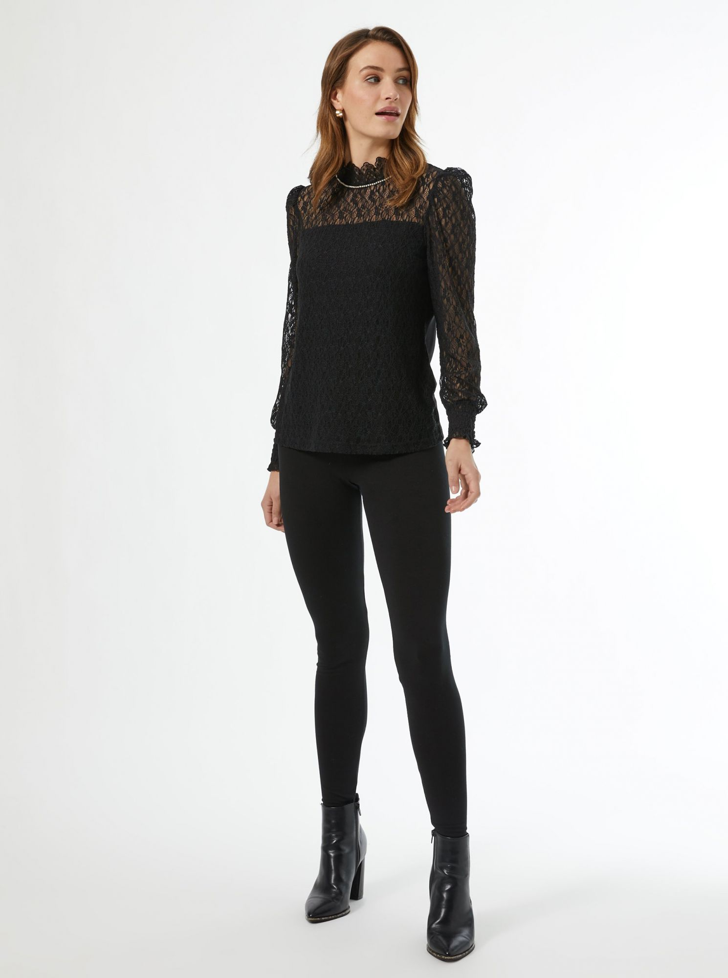 Black lace blouse with stand-up collar Dorothy Perkins