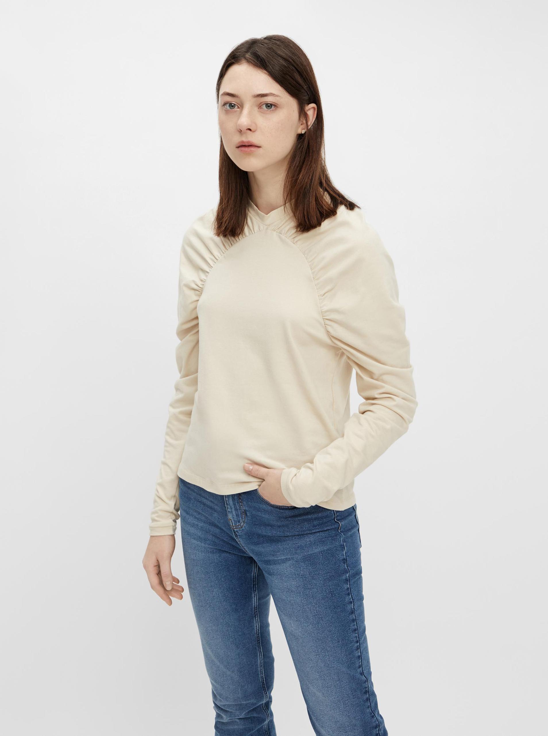 Pieces cream / cream women´s T-shirt