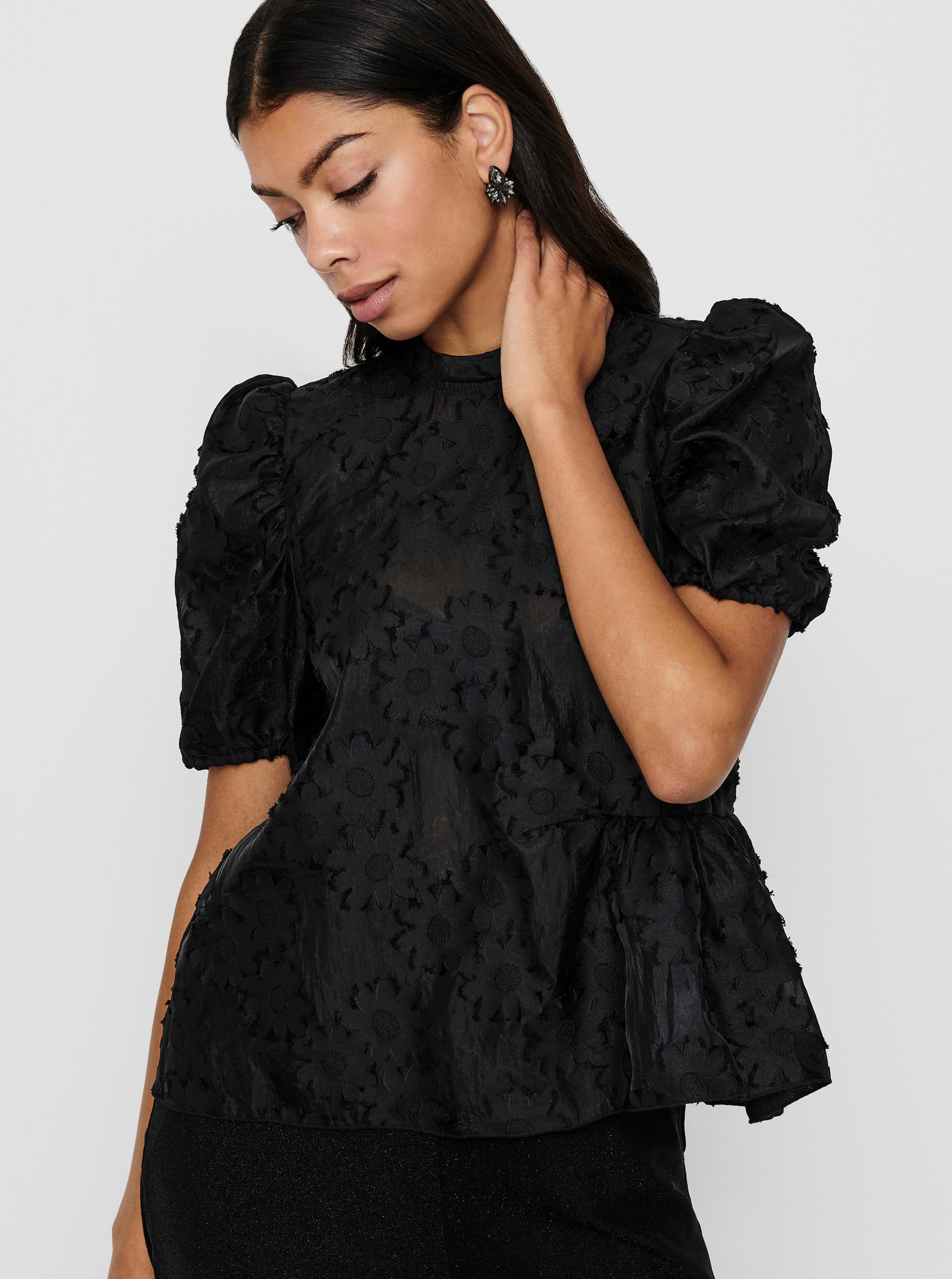 Only black blouse with pattern