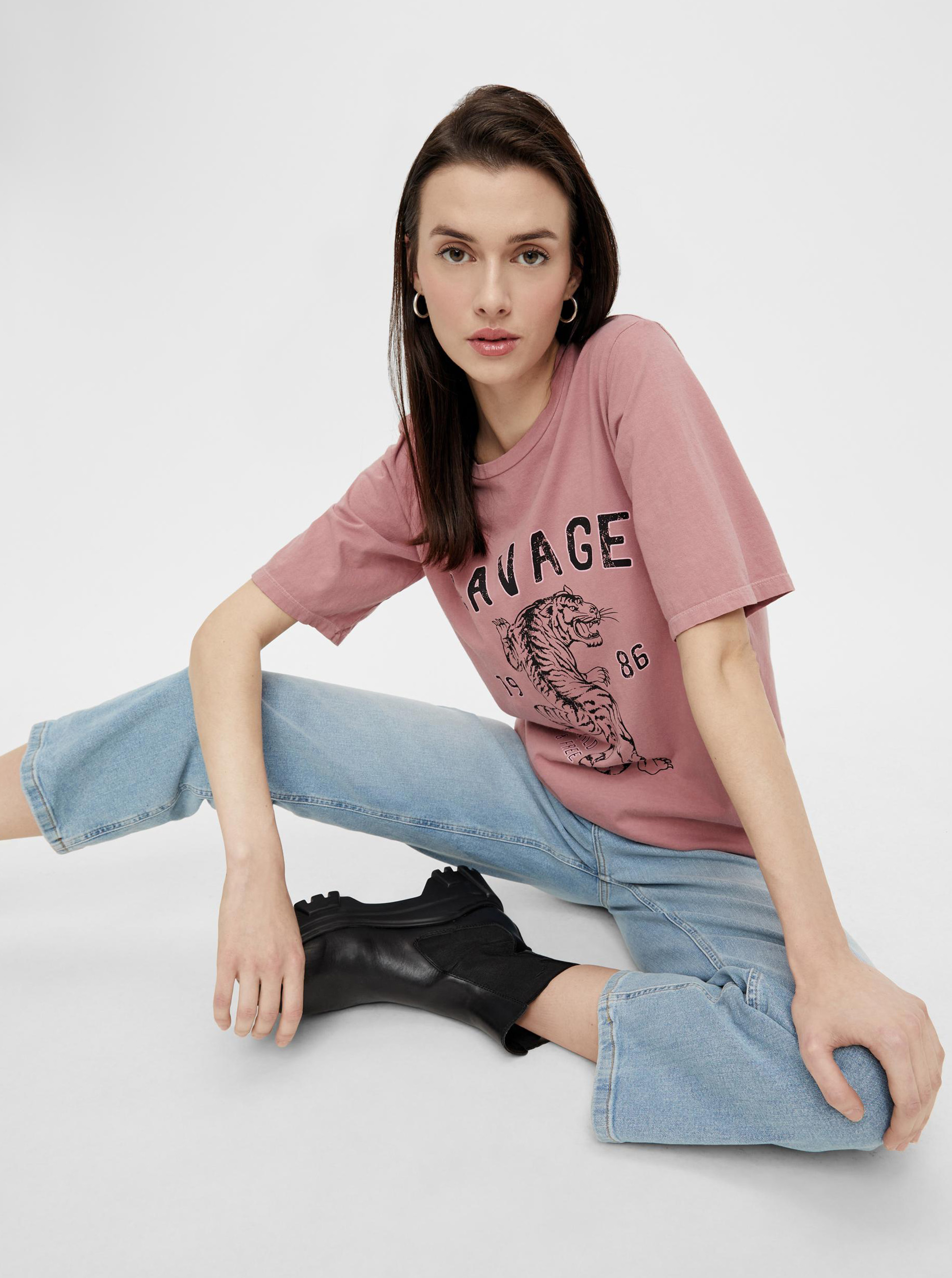 Pieces pink women´s T-shirt with print