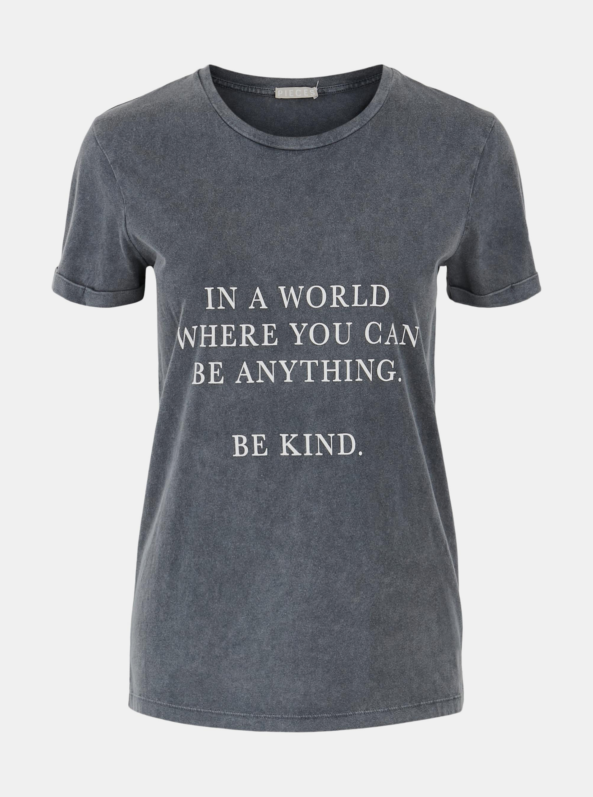 Pieces grey women´s T-shirt Anything with print