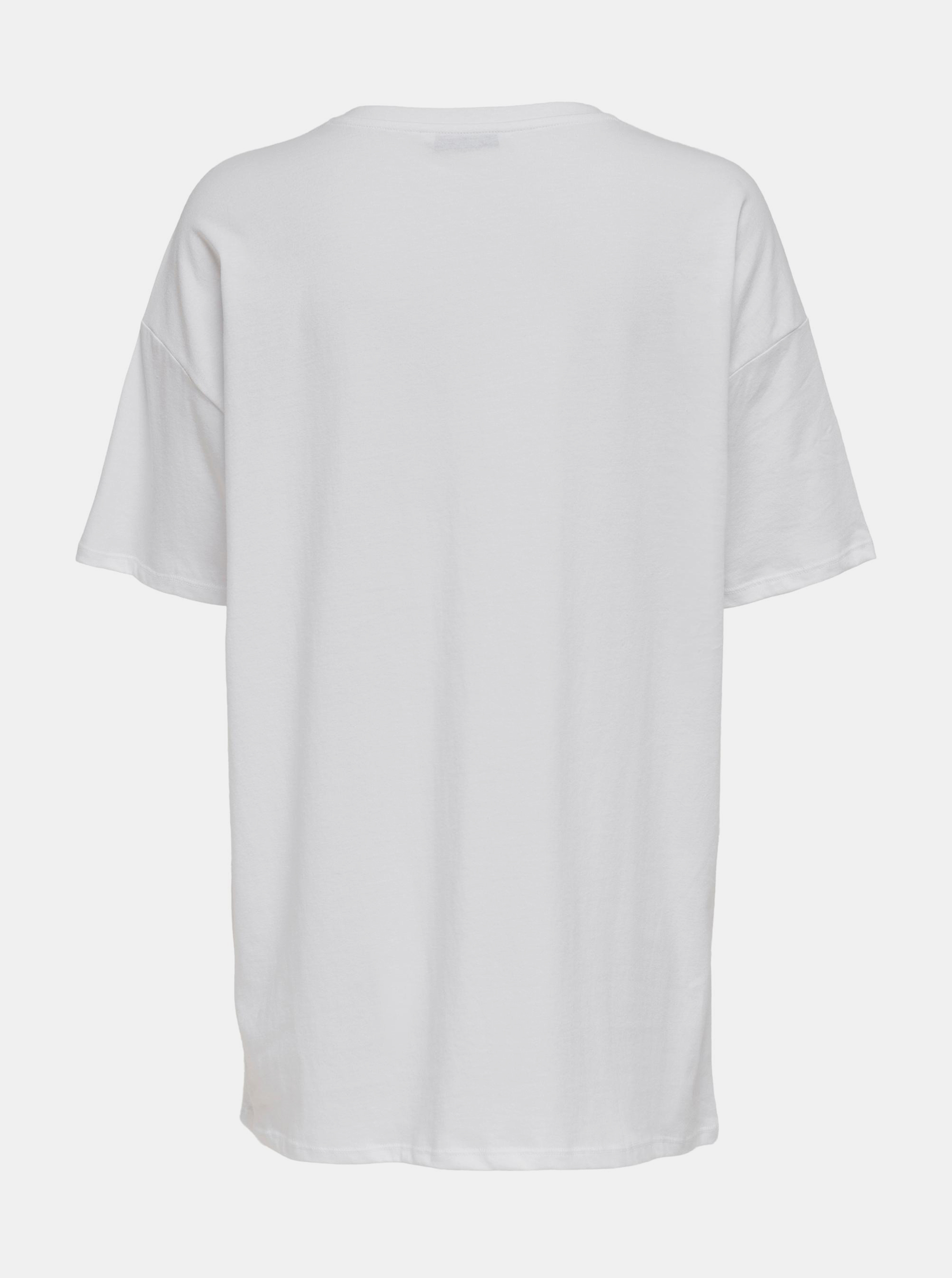 Only white women´s T-shirt Happy with print