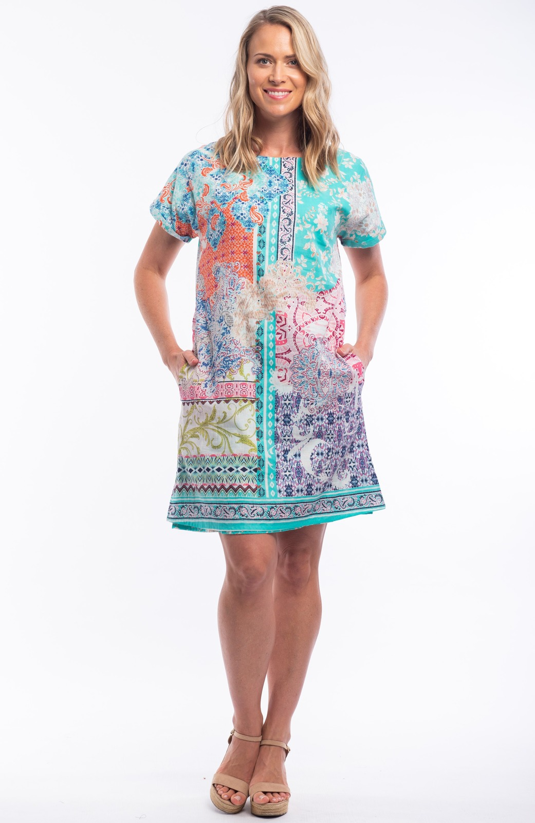 Orientique multicolor summer dress Madeira patterned