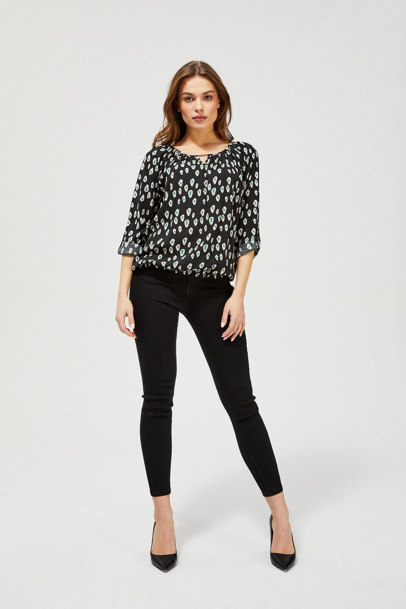 Moodo black blouse with pattern