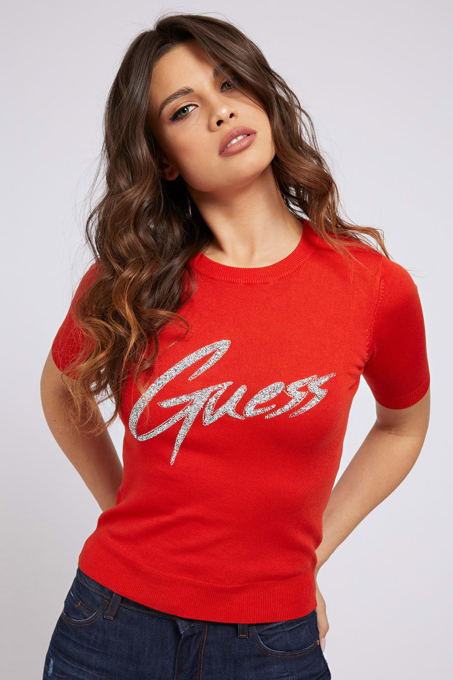 Guess red T-shirt Triangle Logo