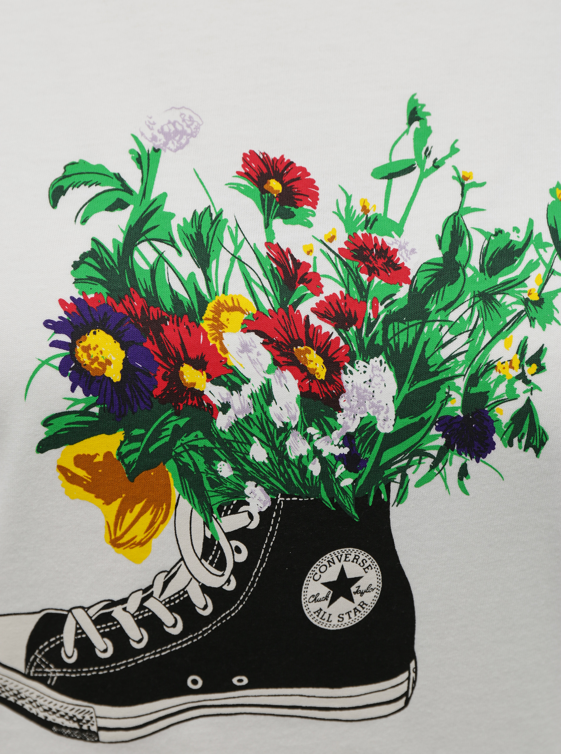 Converse white T-shirt Flowers Are Blooming