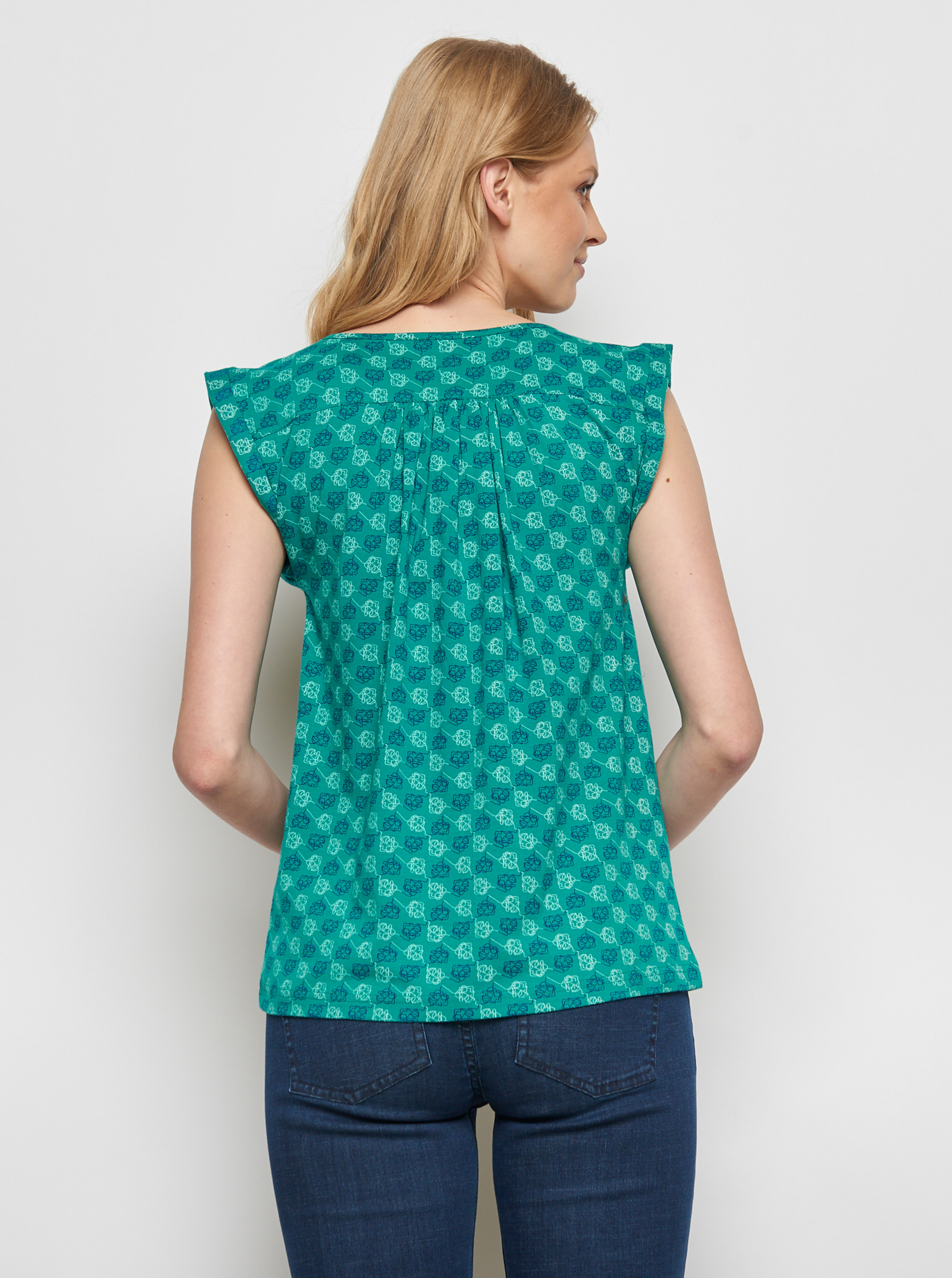 Tranquillo turquoise blouse Shani with pattern