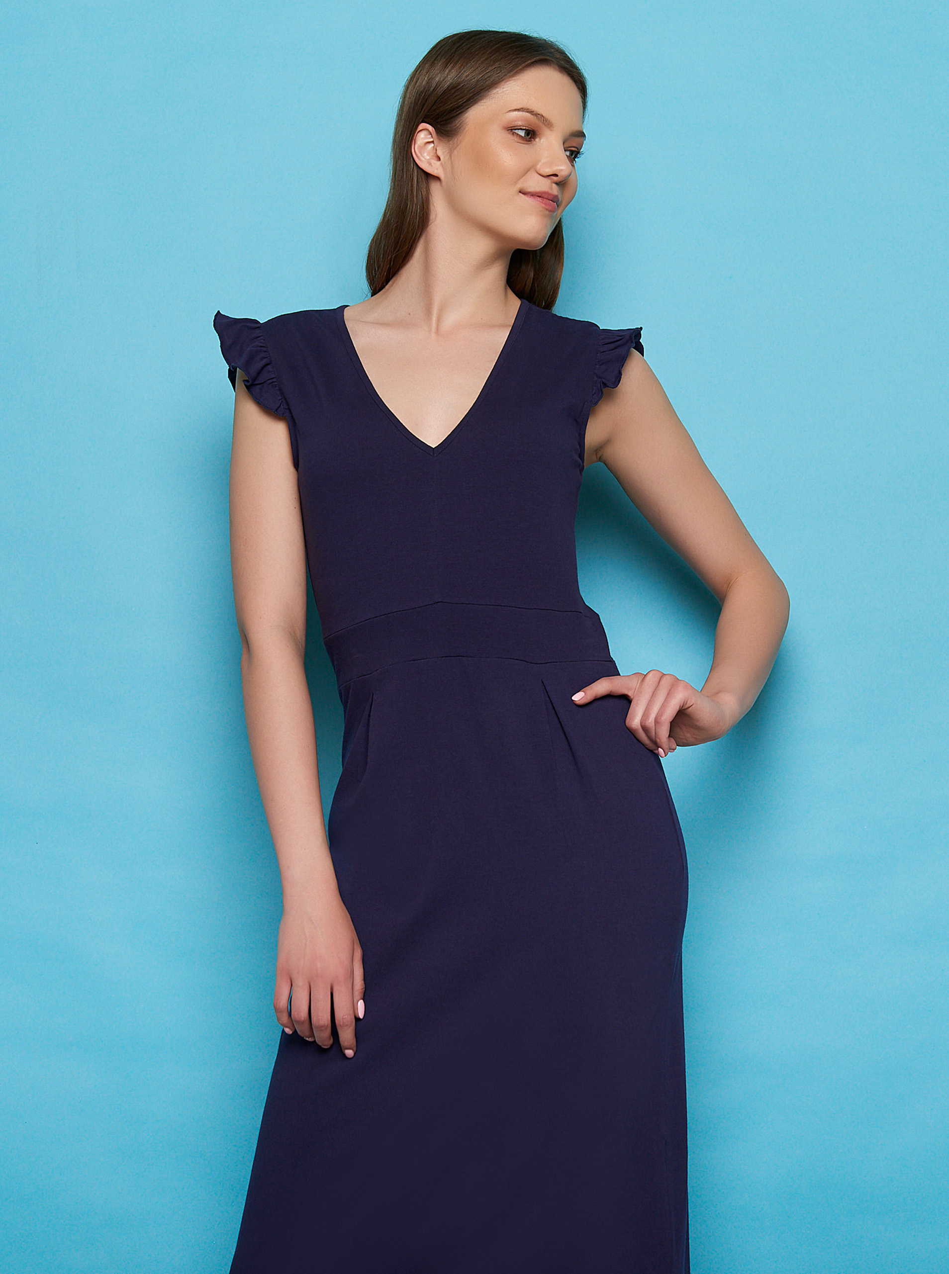 Tranquillo blue maxi dress with ruffled sleeves