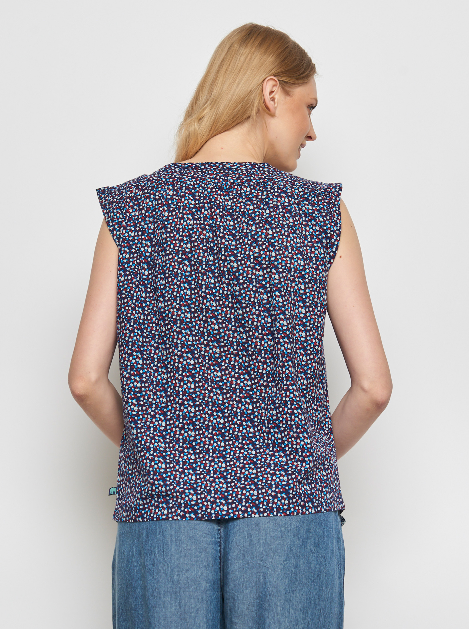Tranquillo blue blouse Lamin with colorful motifs