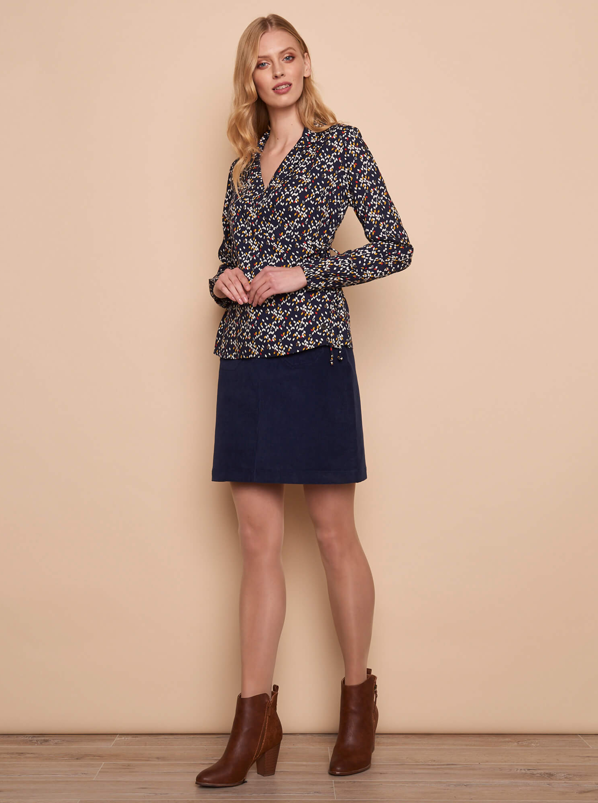 Tranquillo blue blouse with pattern