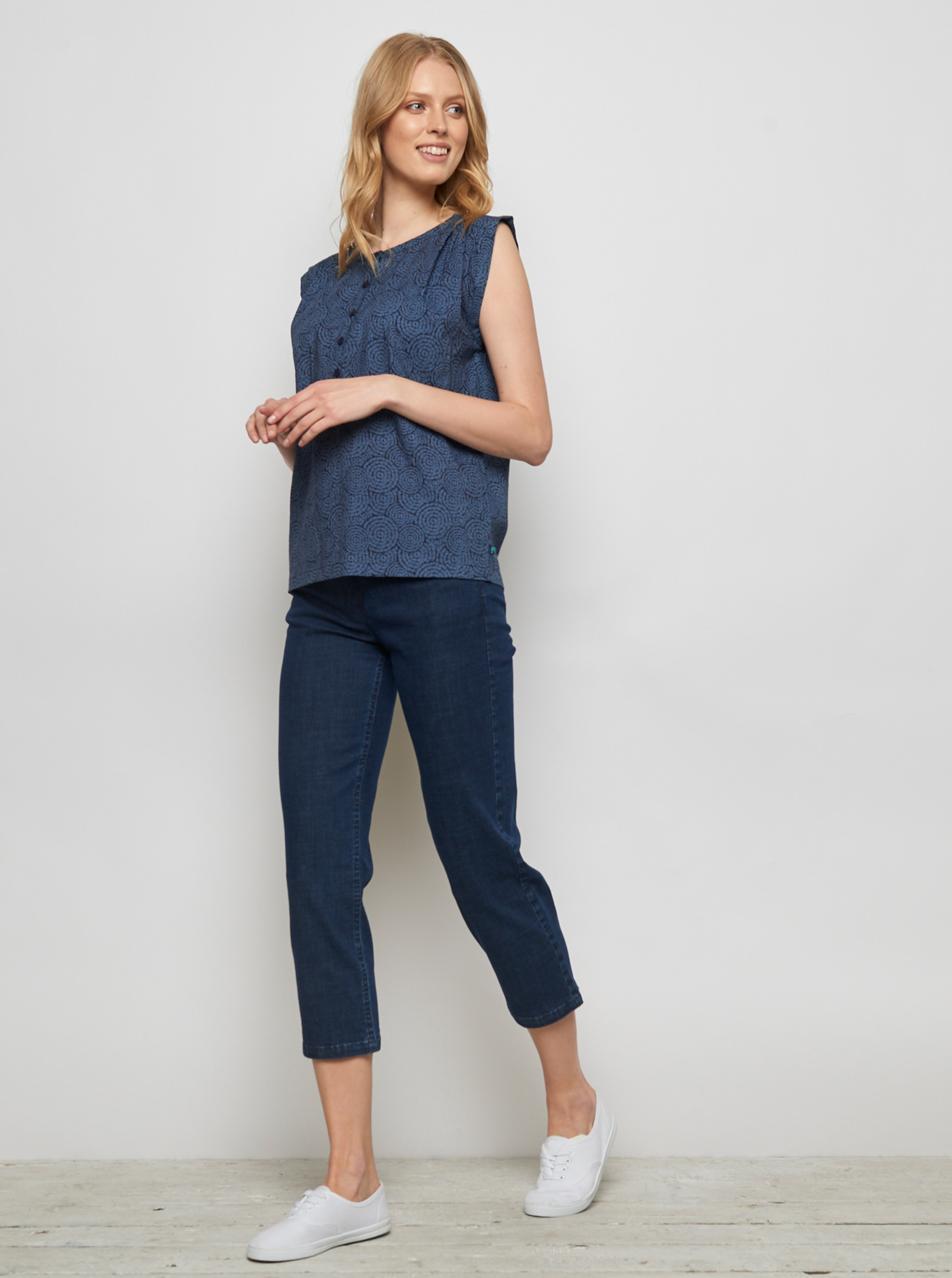 Tranquillo blue blouse Lamin with pattern