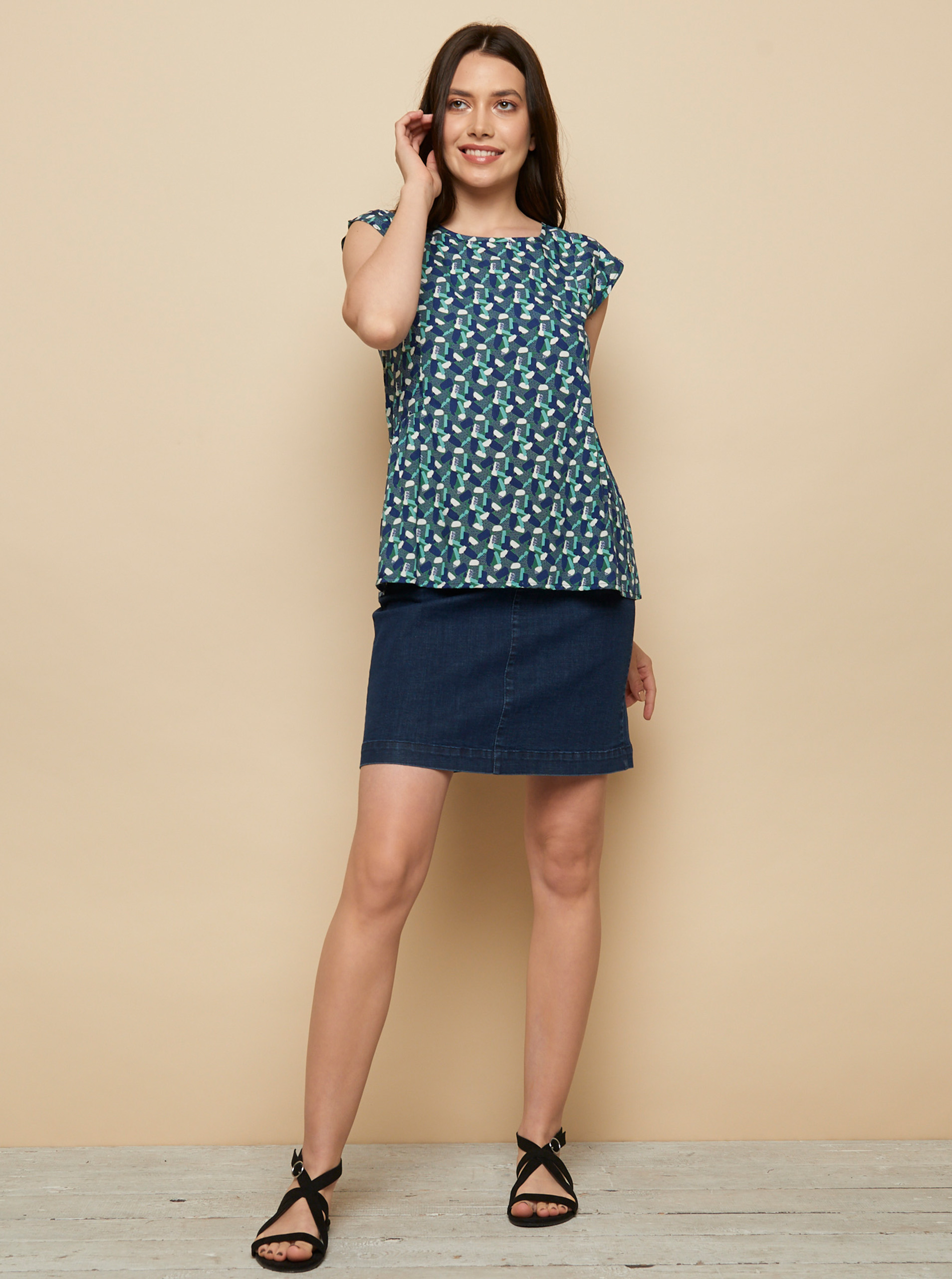 Tranquillo blue blouse Almaz with pattern