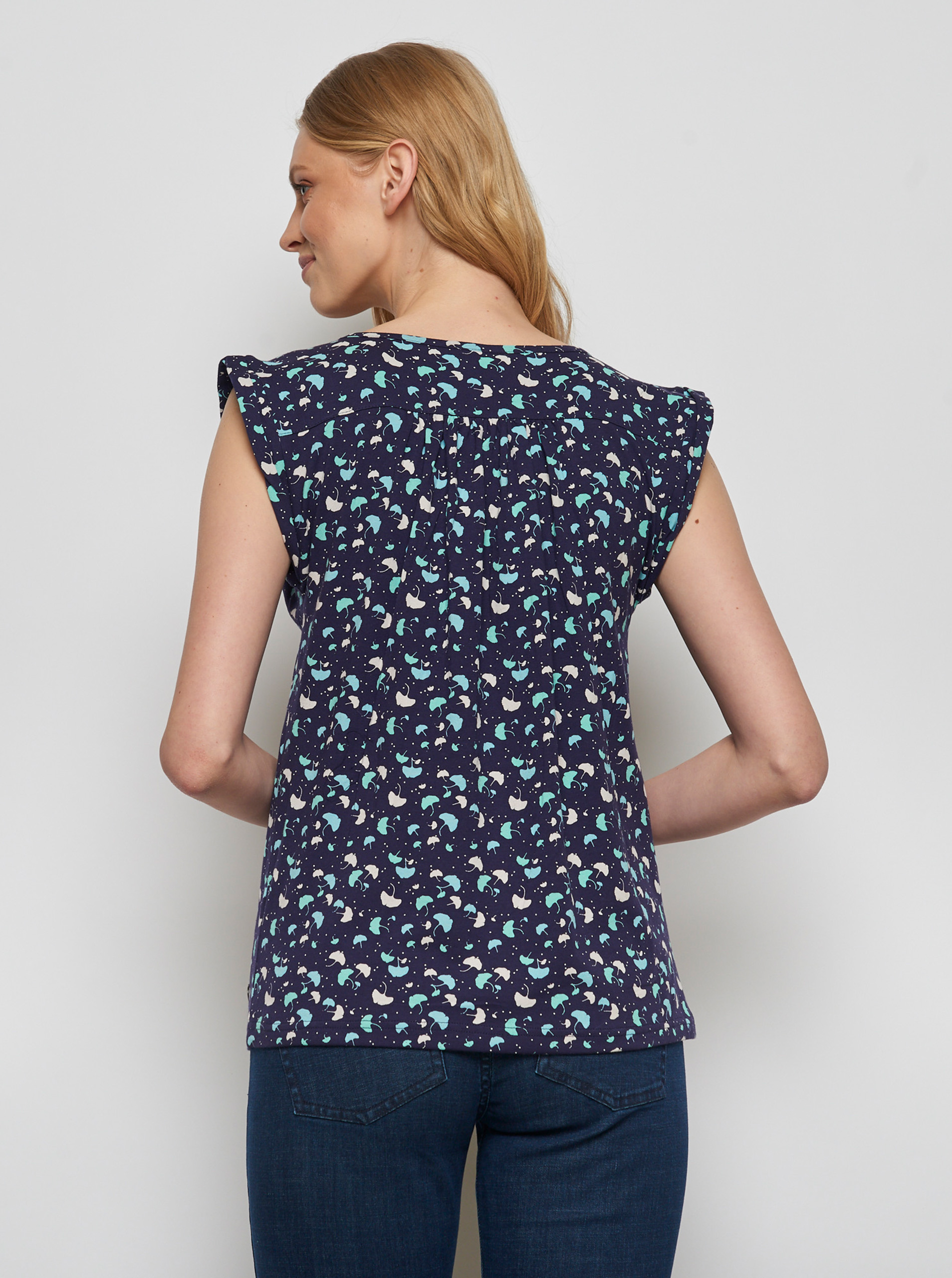 Tranquillo blue blouse Shani with pattern