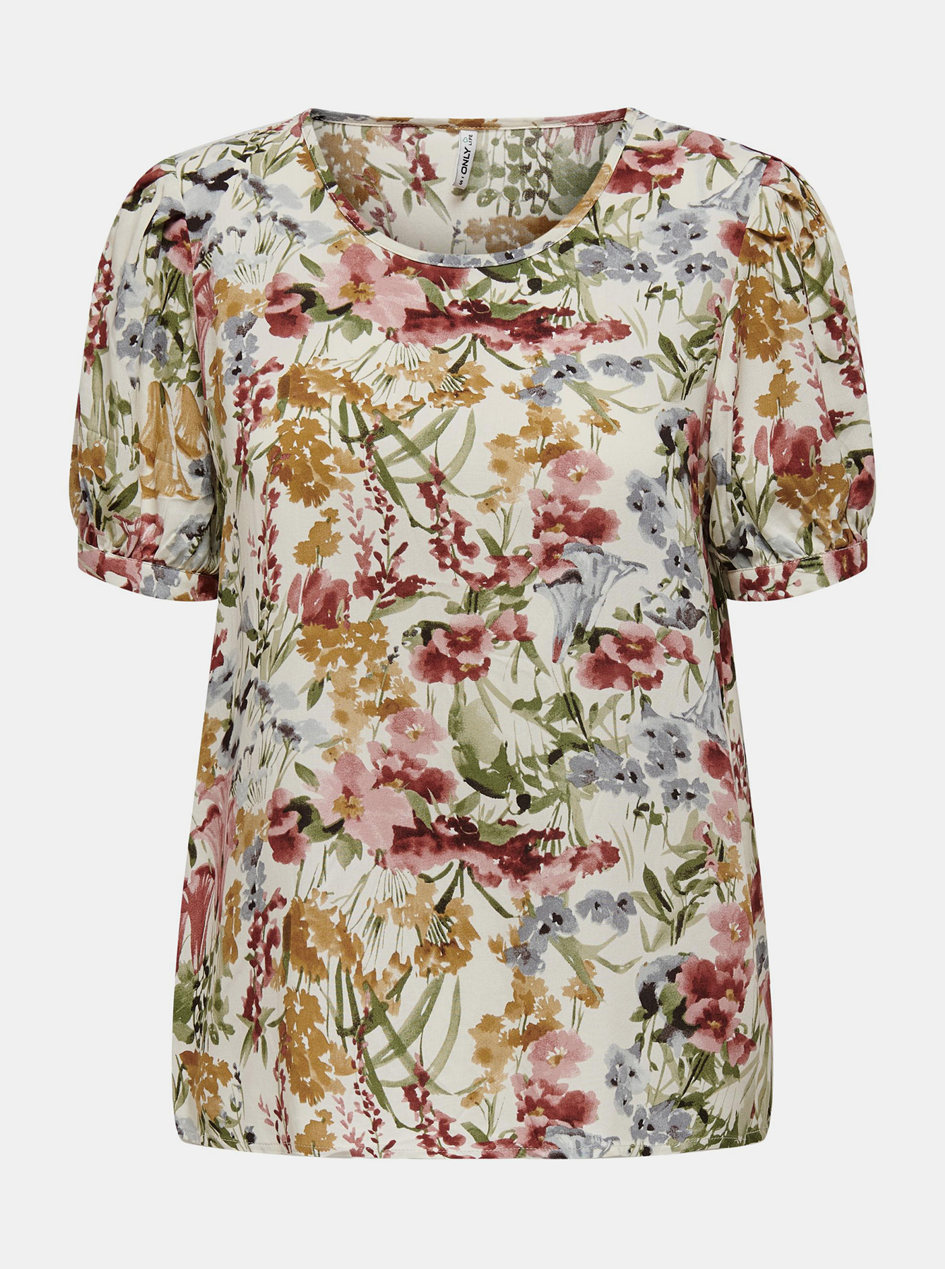 Only cream / cream blouse Karma with floral motif
