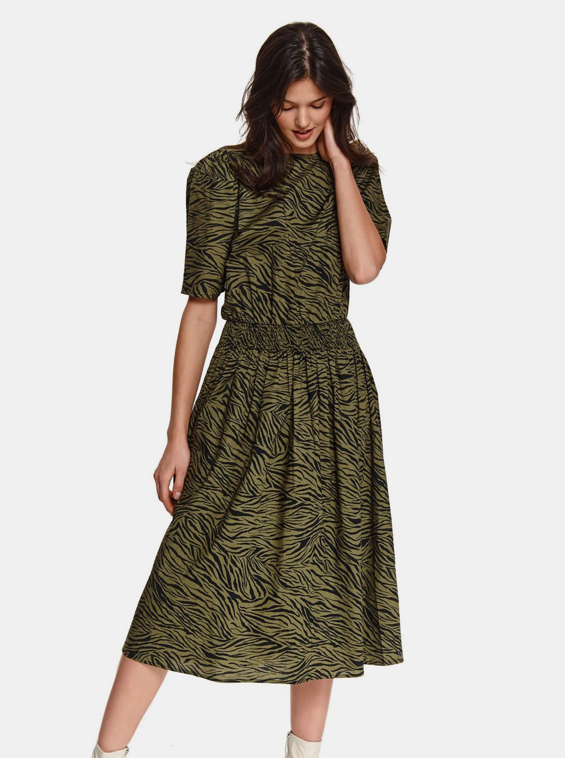 TOP SECRET green midi dress patterned