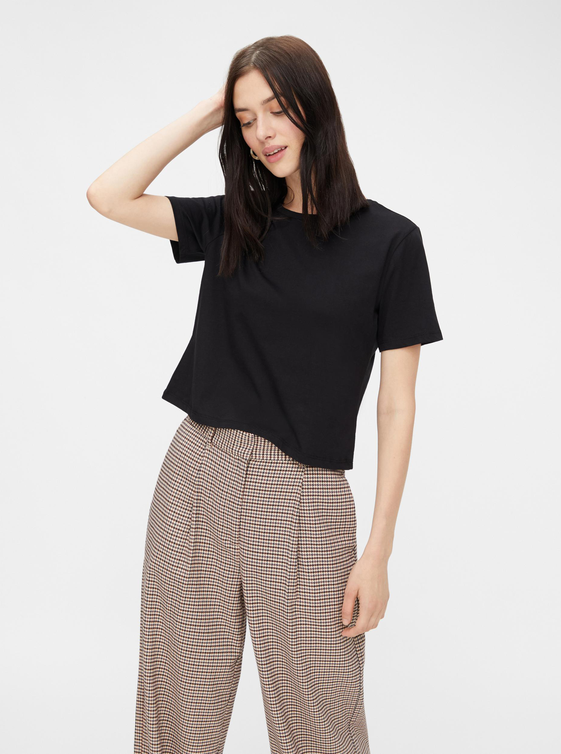 Pieces black basic cropped top Rina