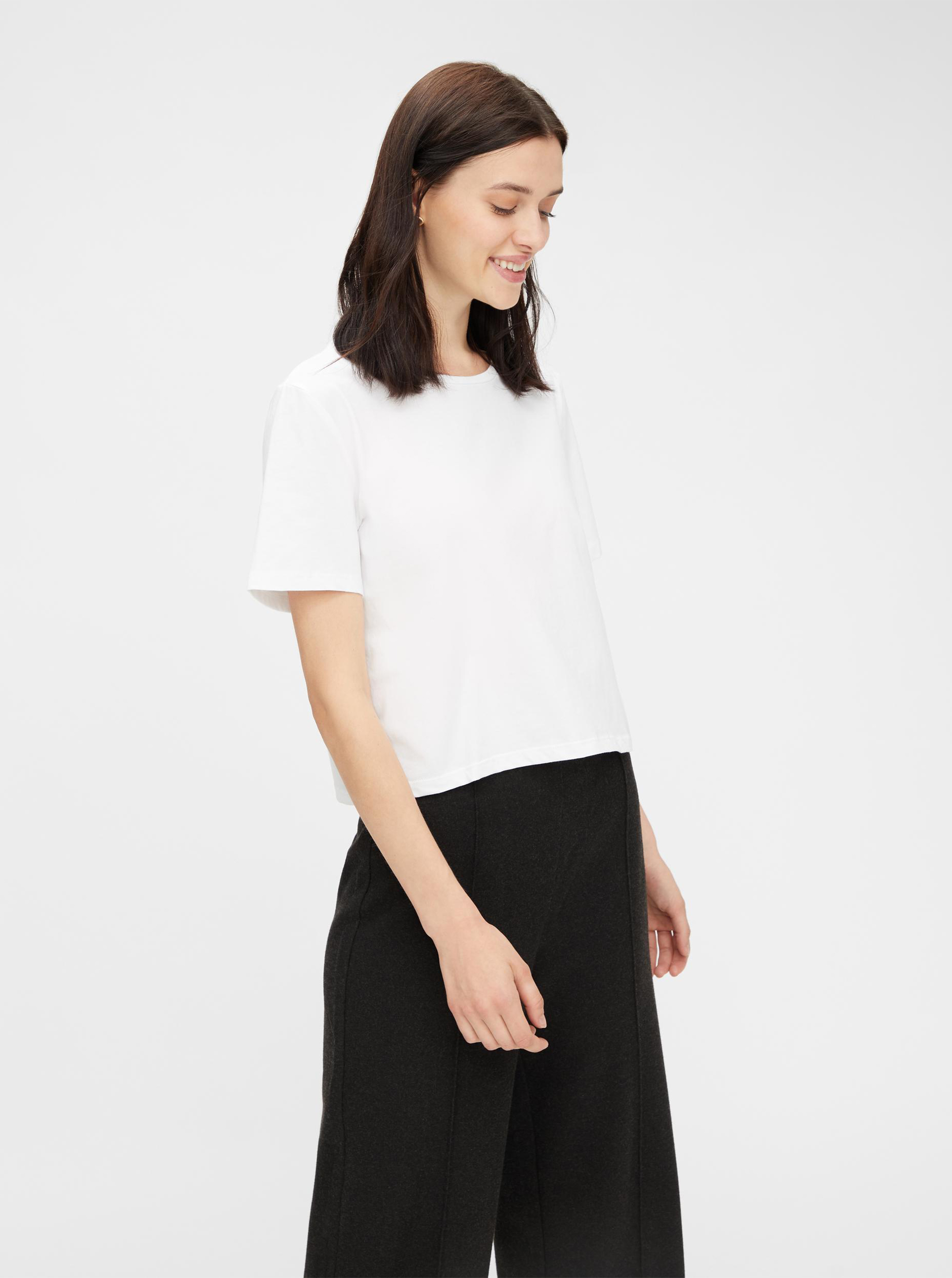 Pieces white basic top cropped Rina