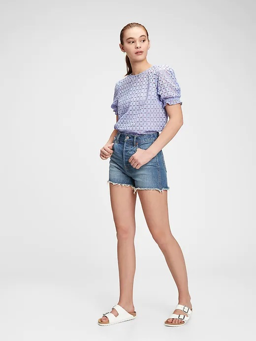 GAP blue top Puff with cutouts